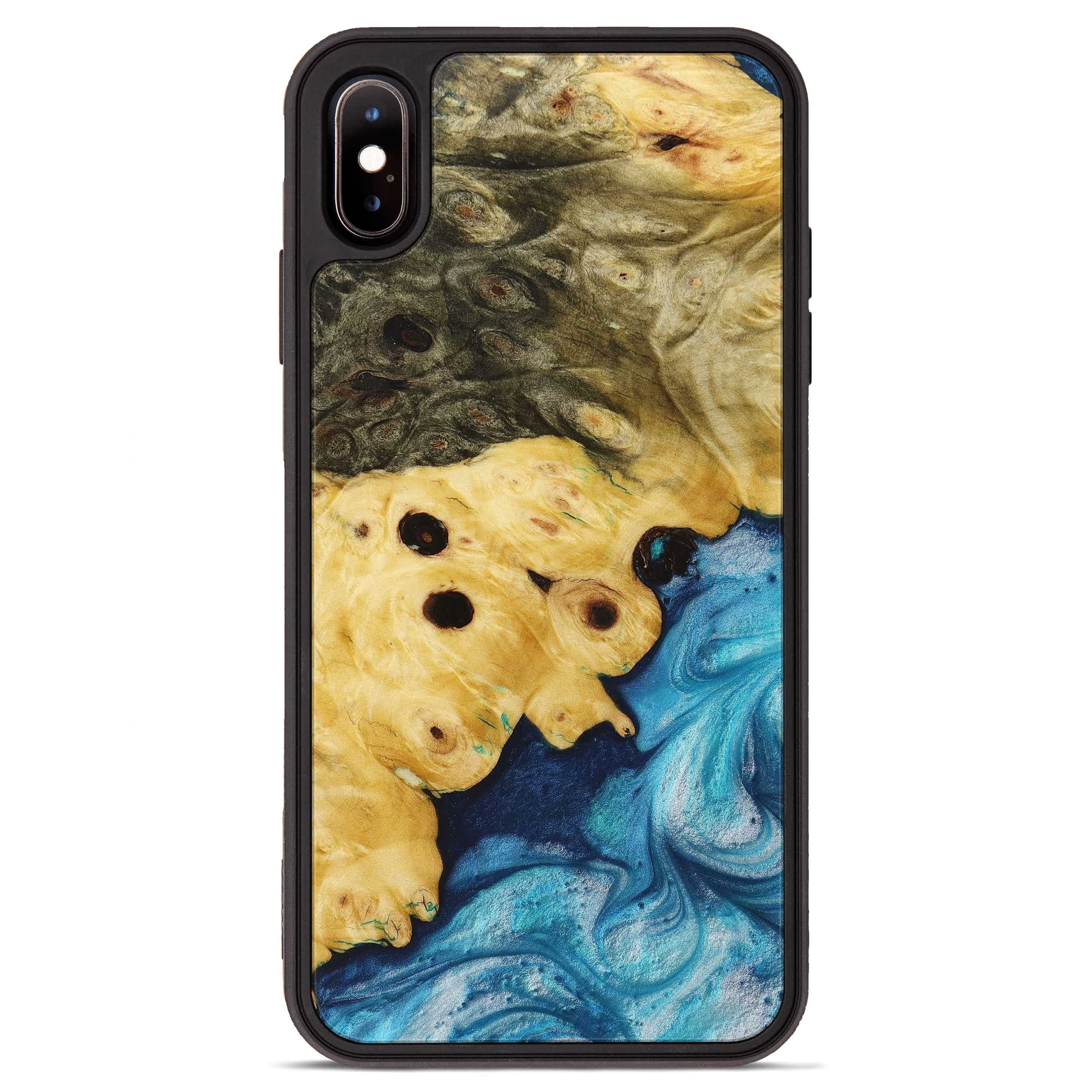 iPhone Xs Max Wood+Resin Phone Case - Agnella (Light Blue, 394205)