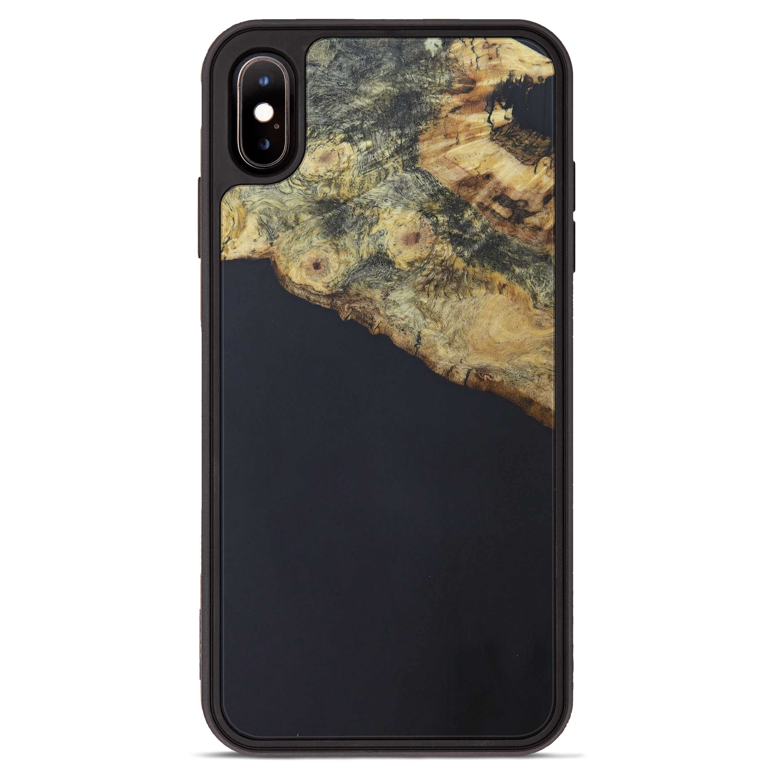 iPhone Xs Max Wood+Resin Phone Case - Trish (Pure Black, 394226)