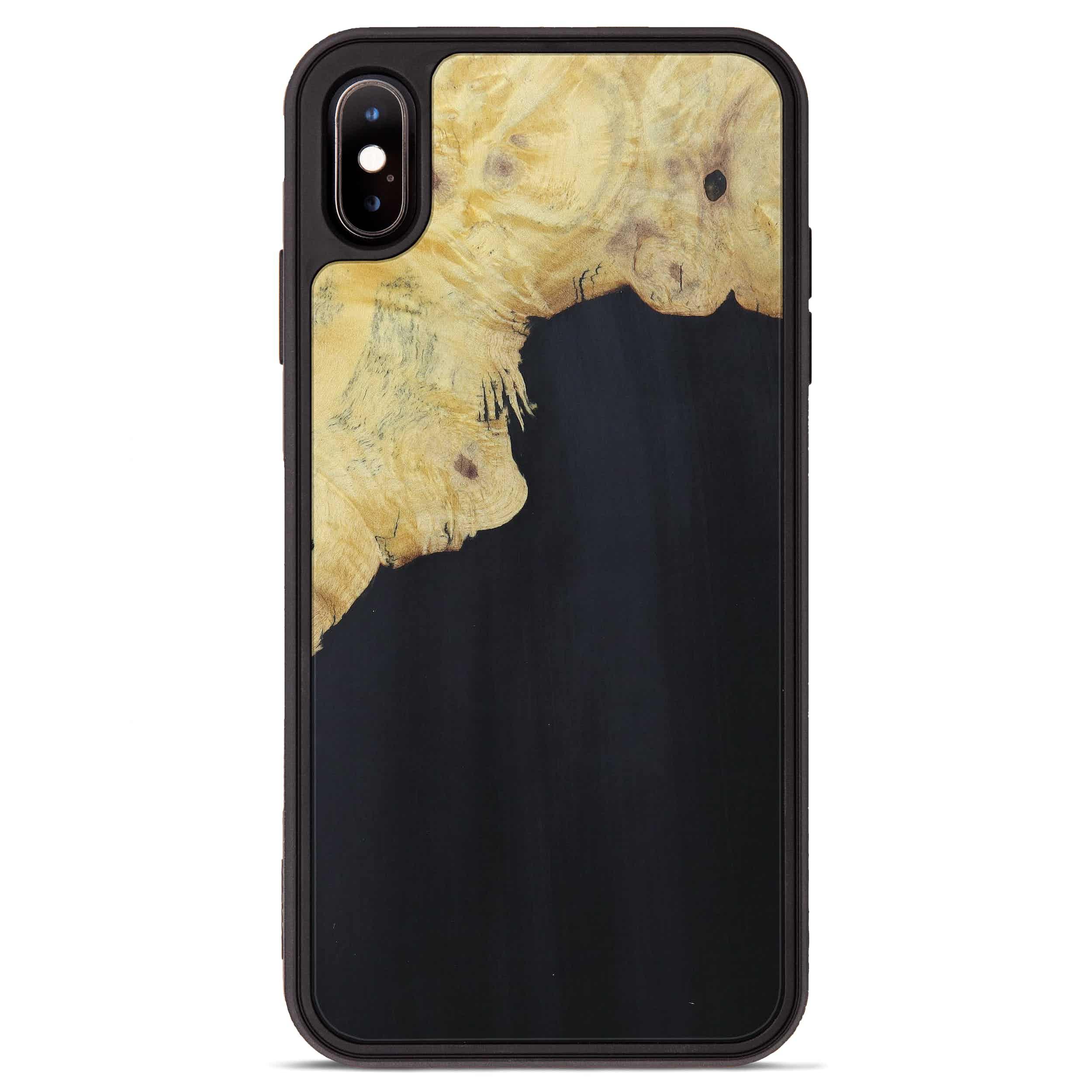 iPhone Xs Max Wood+Resin Phone Case - Kattie (Pure Black, 394227)