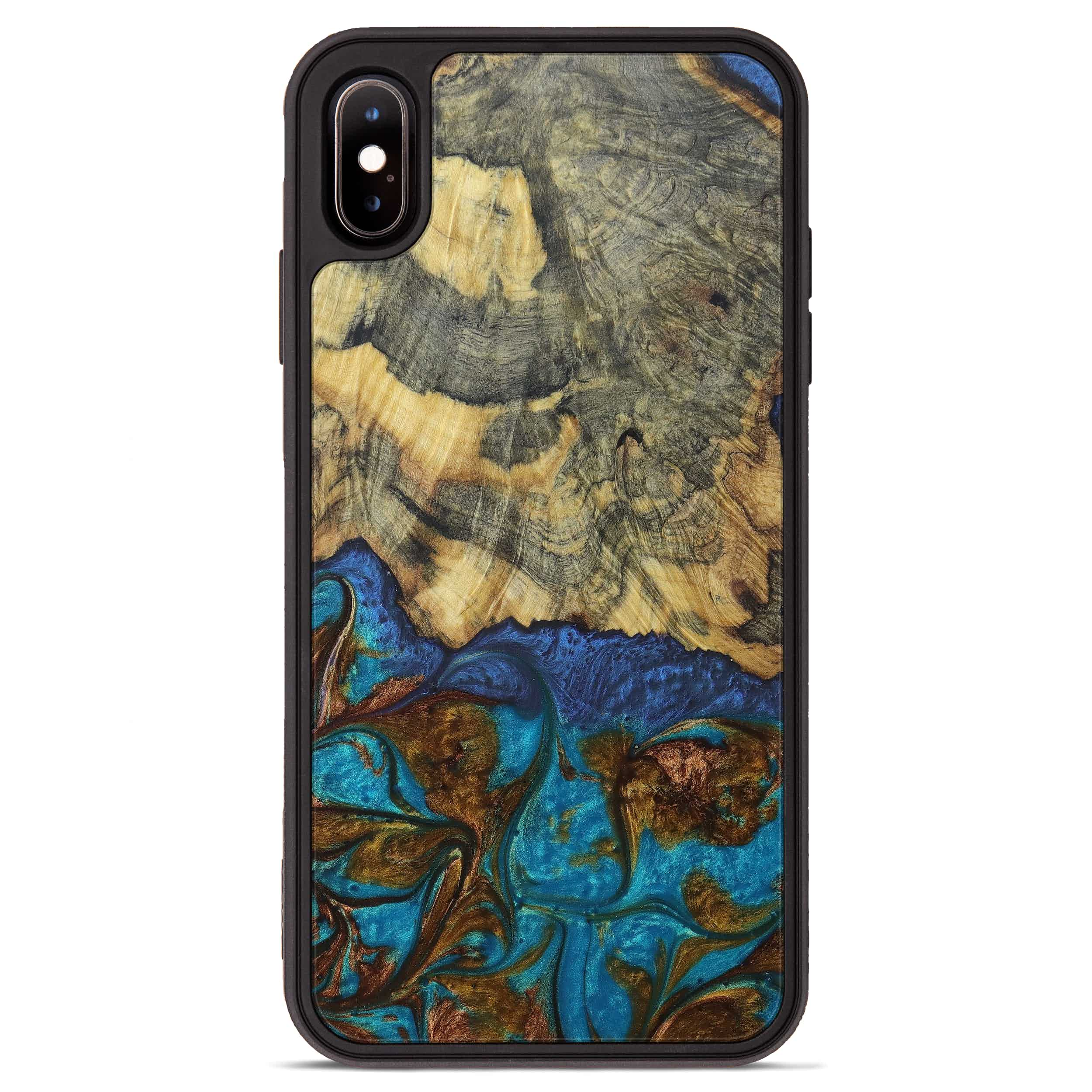 iPhone Xs Max Wood+Resin Phone Case - Seang (Teal & Gold, 394244)
