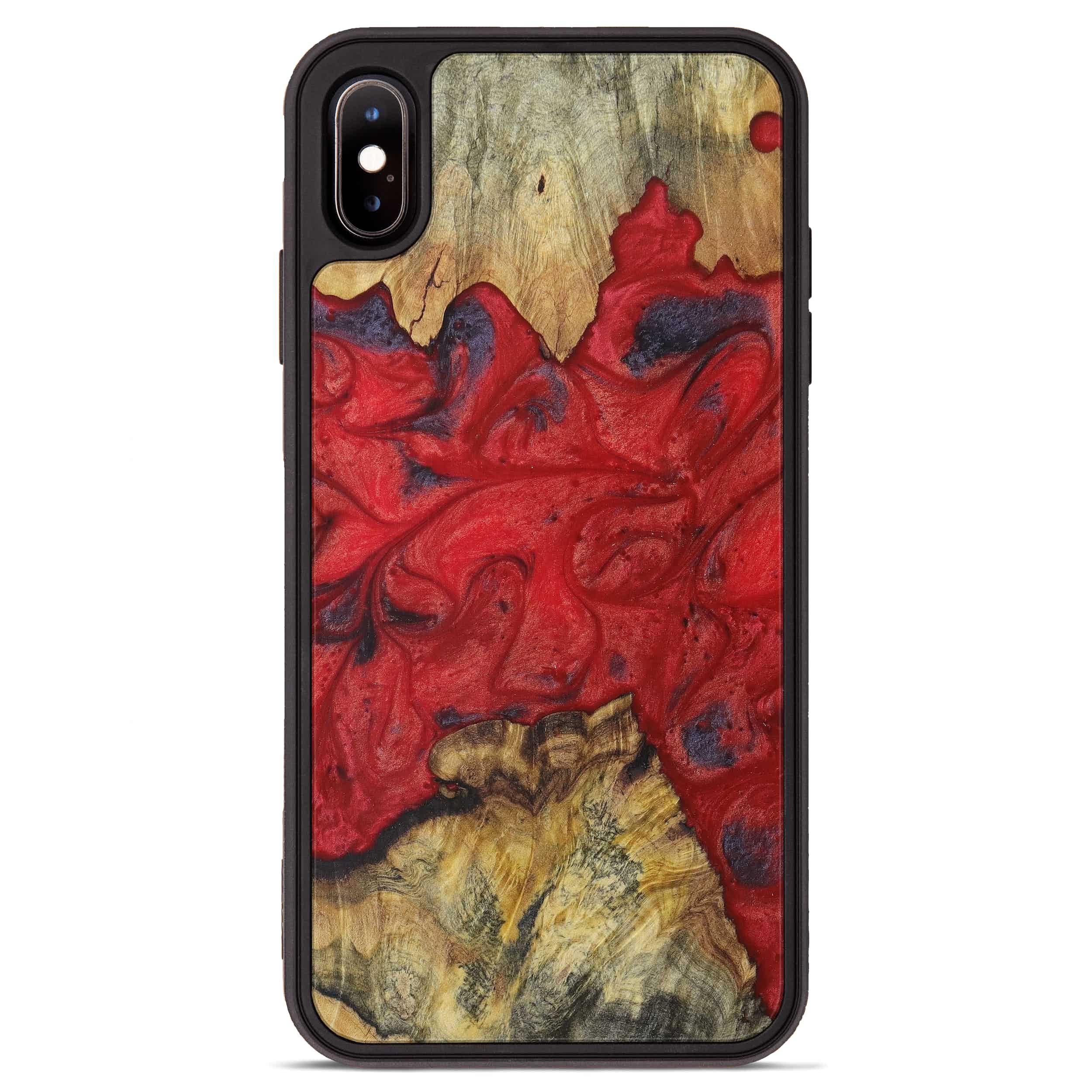 iPhone Xs Max Wood+Resin Phone Case - Vinni (Dark Red, 394297)