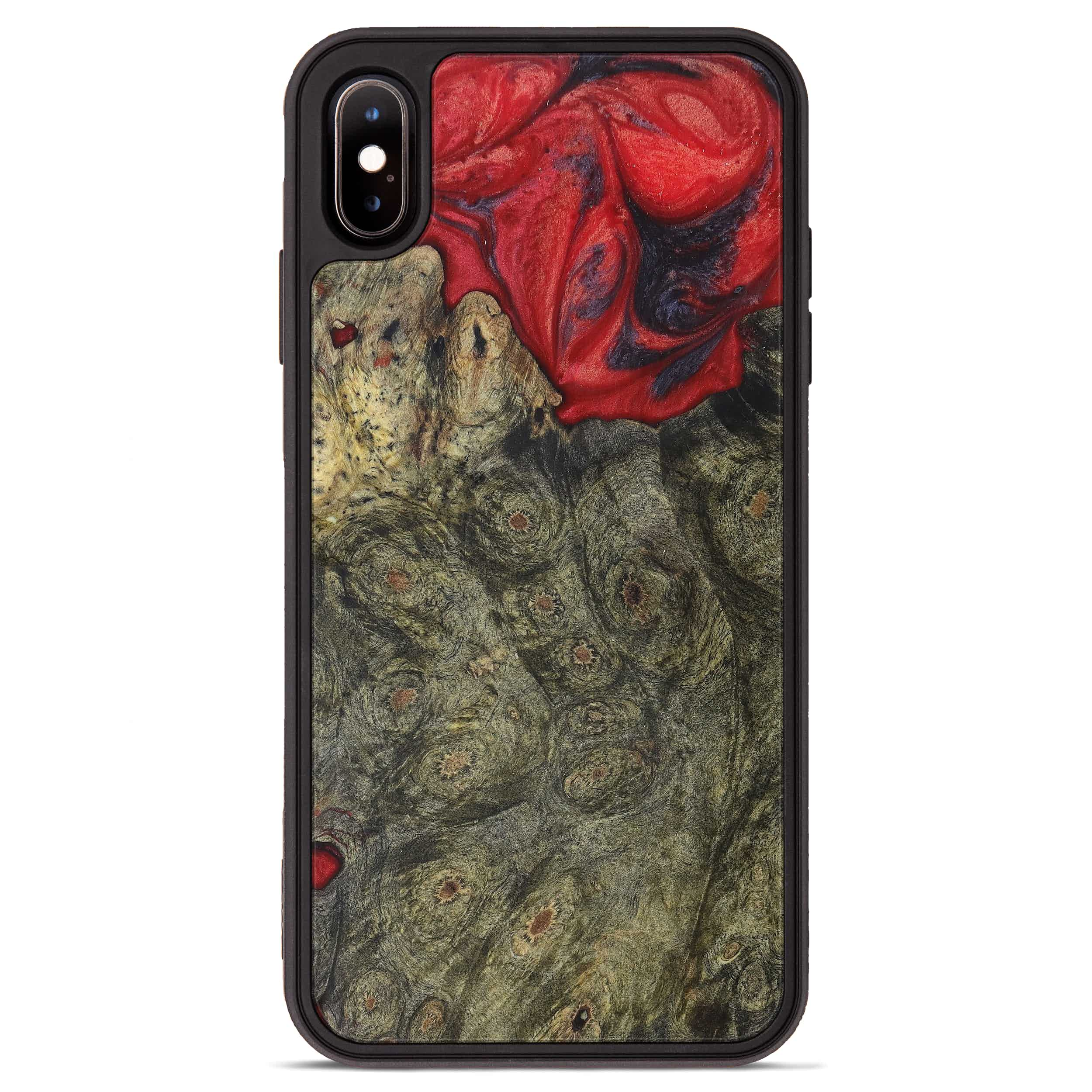 iPhone Xs Max Wood+Resin Phone Case - Chan (Dark Red, 394298)