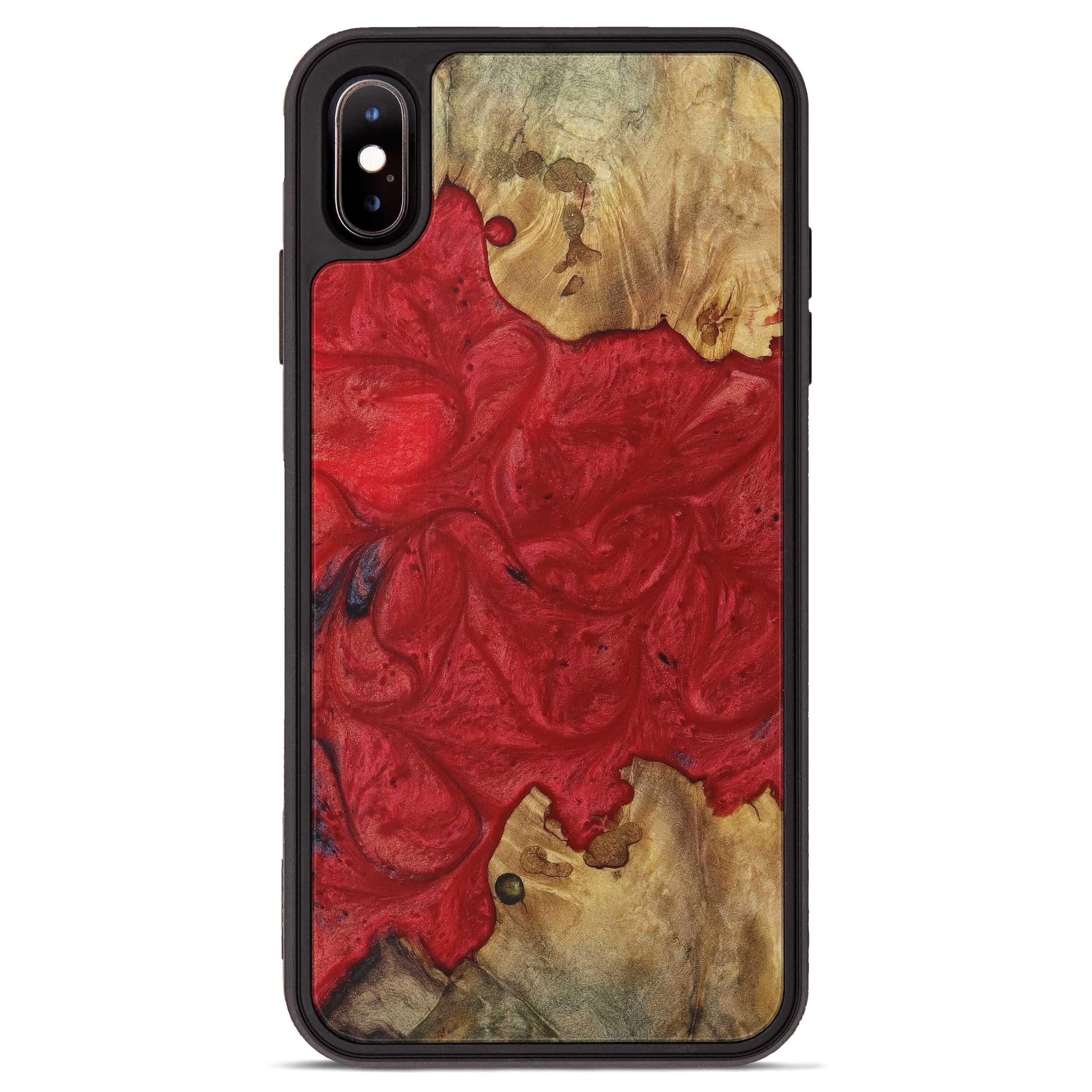 iPhone Xs Max Wood+Resin Phone Case - Jessamine (Dark Red, 394299)