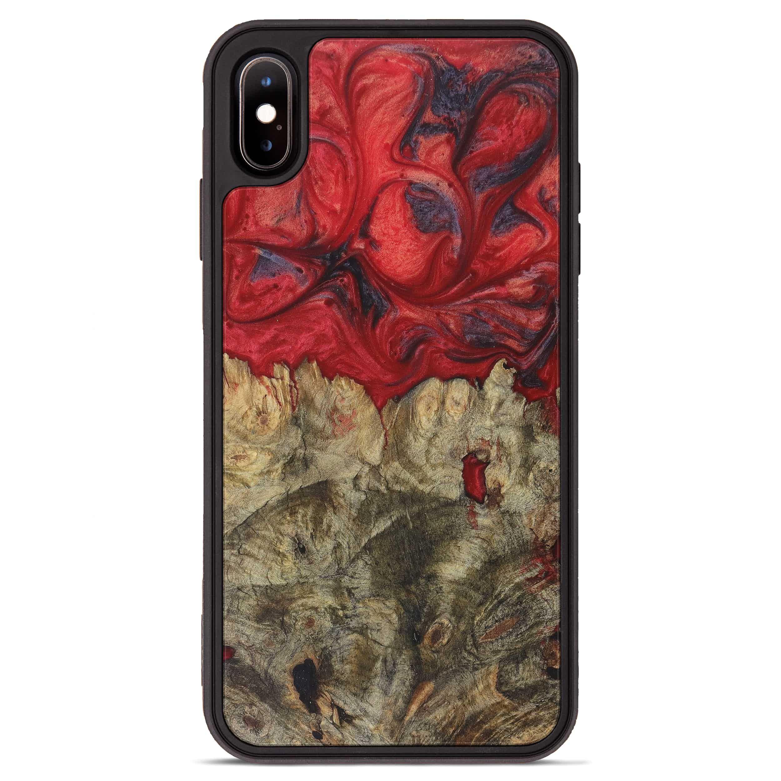 iPhone Xs Max Wood+Resin Phone Case - Tamarah (Dark Red, 394308)