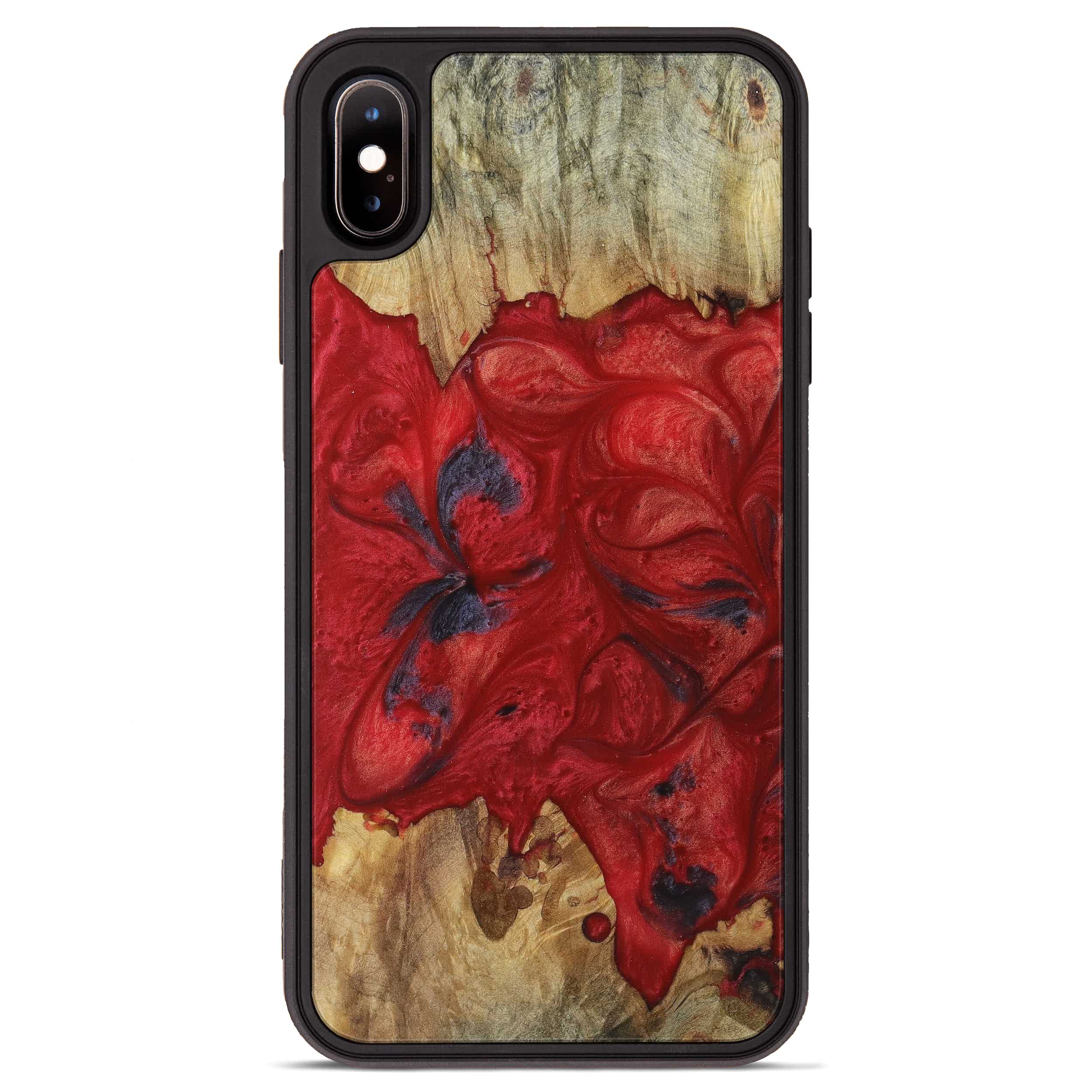 iPhone Xs Max Wood+Resin Phone Case - Kay (Dark Red, 394312)