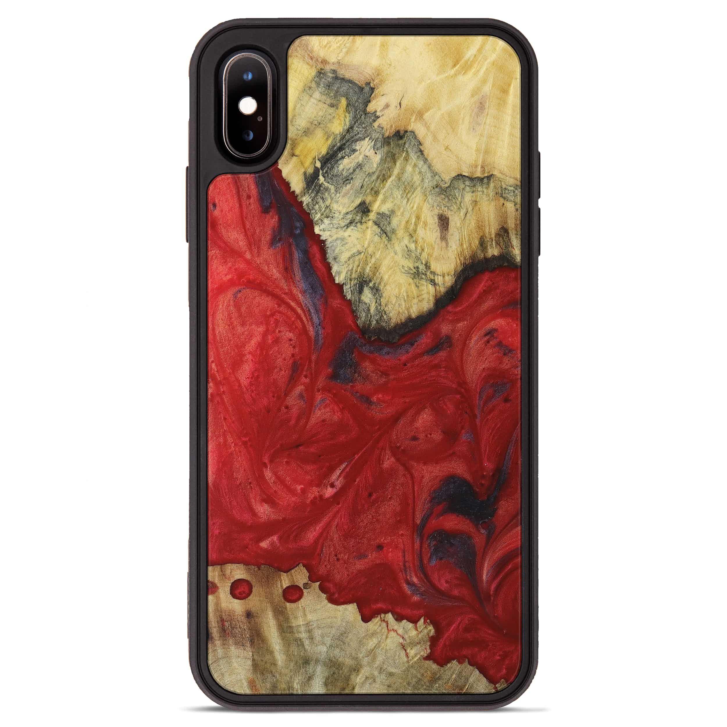 iPhone Xs Max Wood+Resin Phone Case - Ollie (Dark Red, 394315)