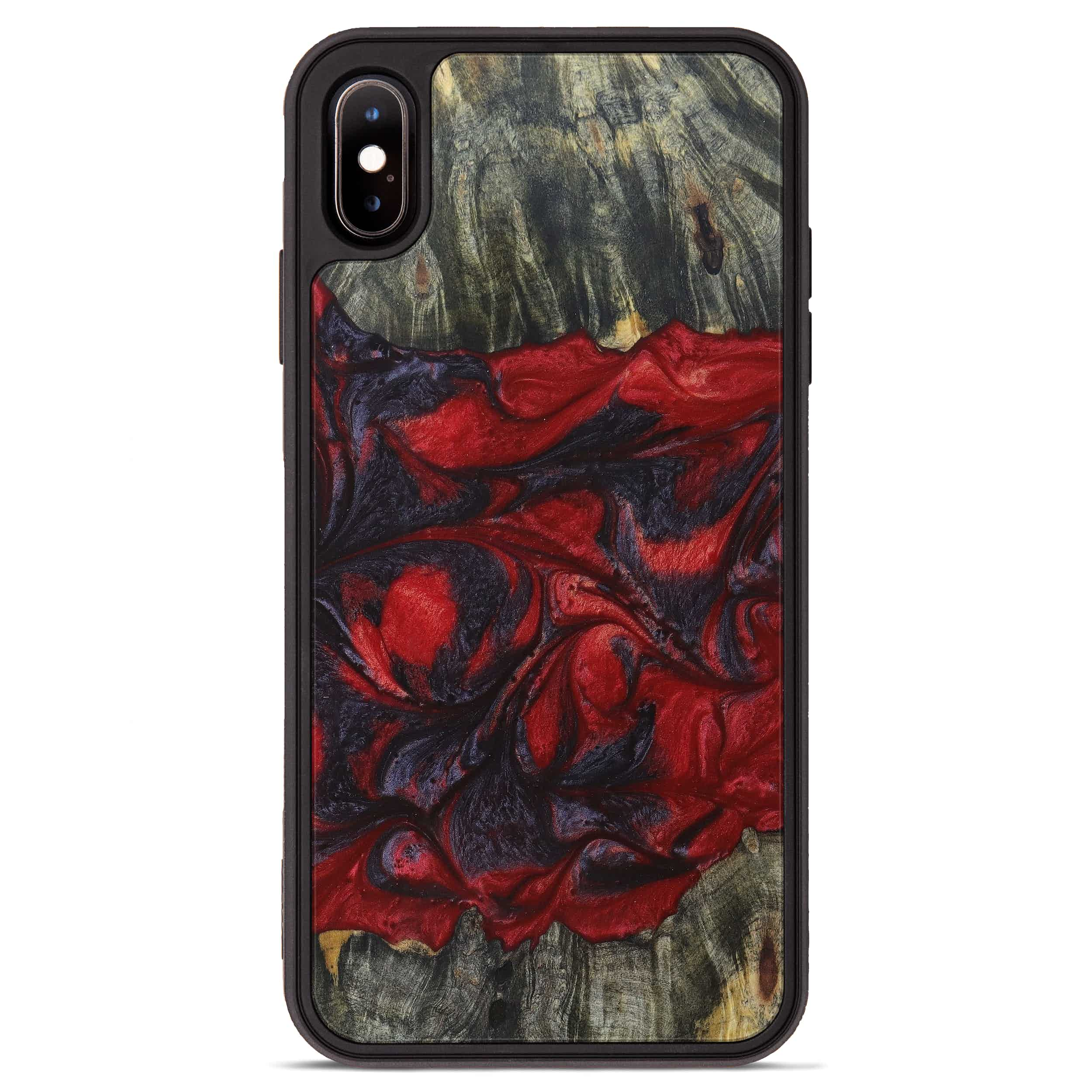 iPhone Xs Max Wood+Resin Phone Case - Constancia (Dark Red, 394321)