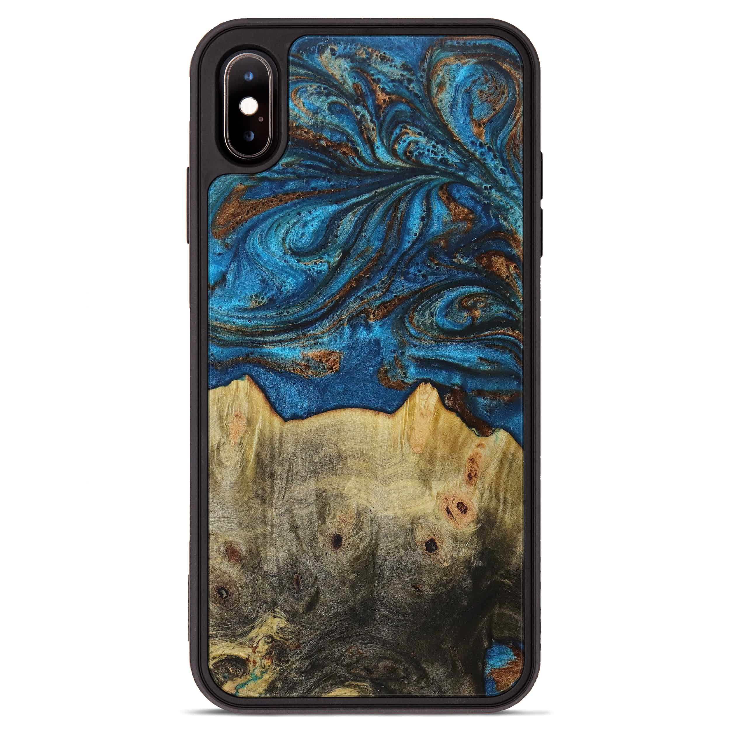 iPhone Xs Max Wood+Resin Phone Case - Jaffer (Teal & Gold, 394366)