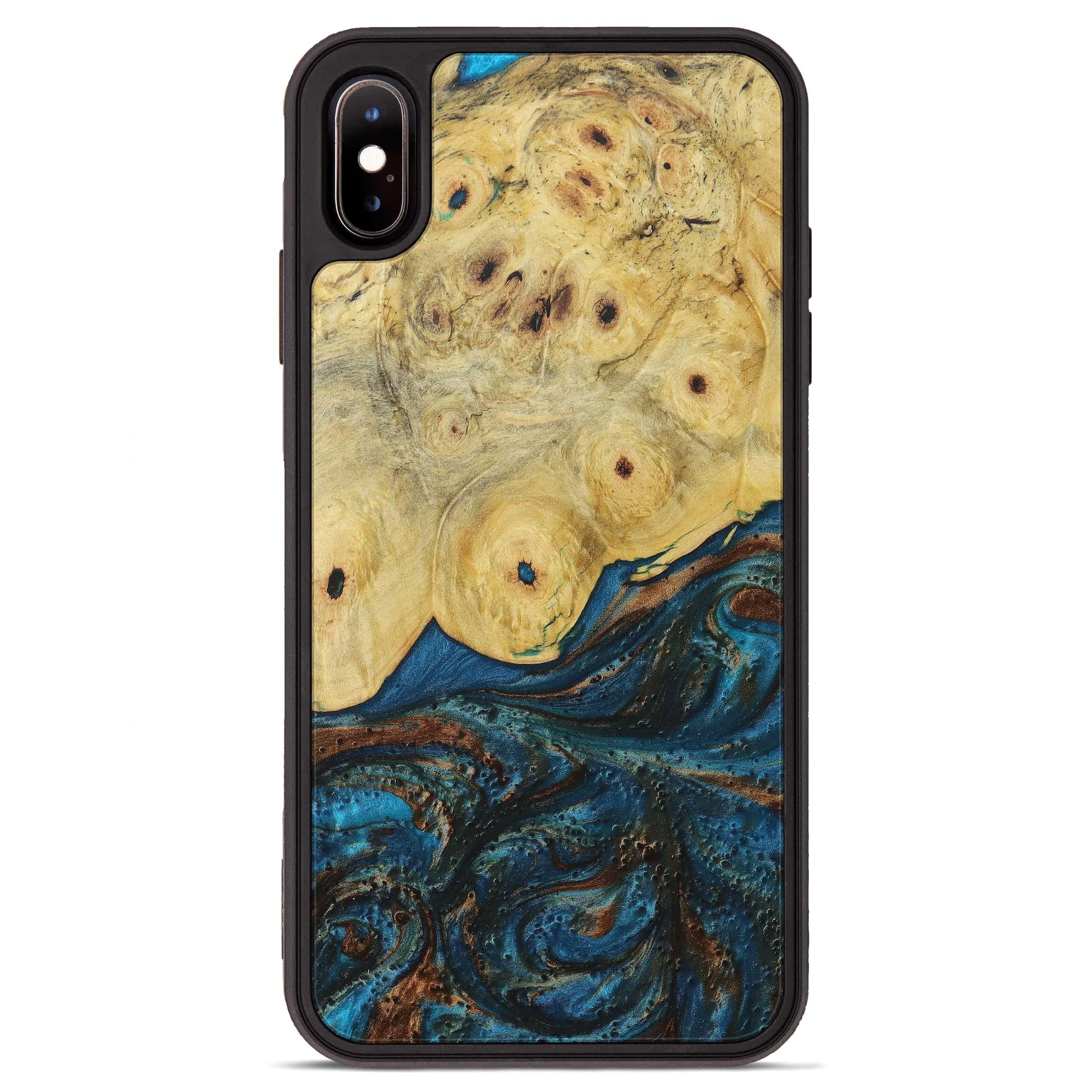 iPhone Xs Max Wood+Resin Phone Case - Mats (Teal & Gold, 394367)