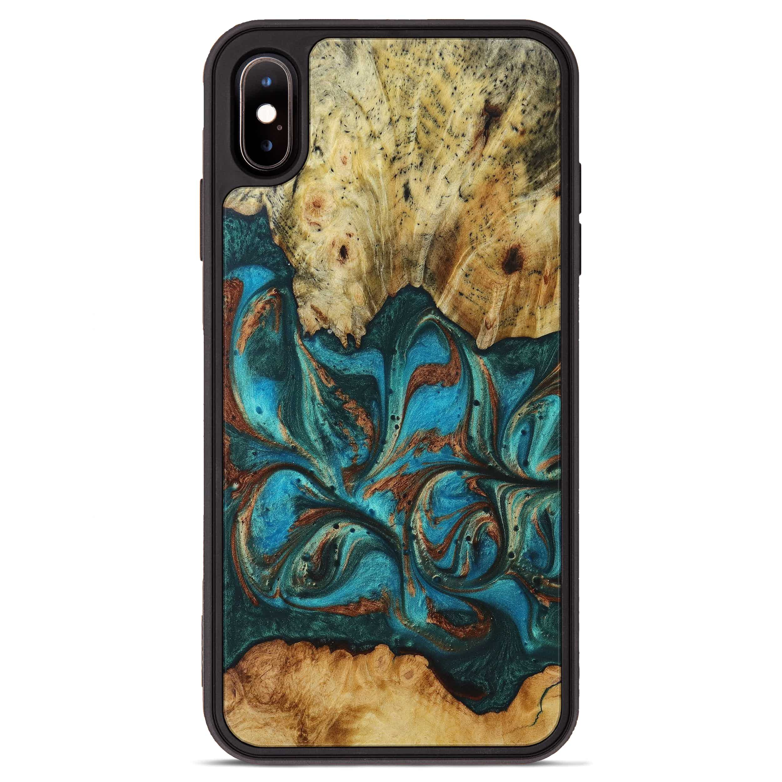 iPhone Xs Max Wood+Resin Phone Case - Poulos (Teal & Gold, 394382)