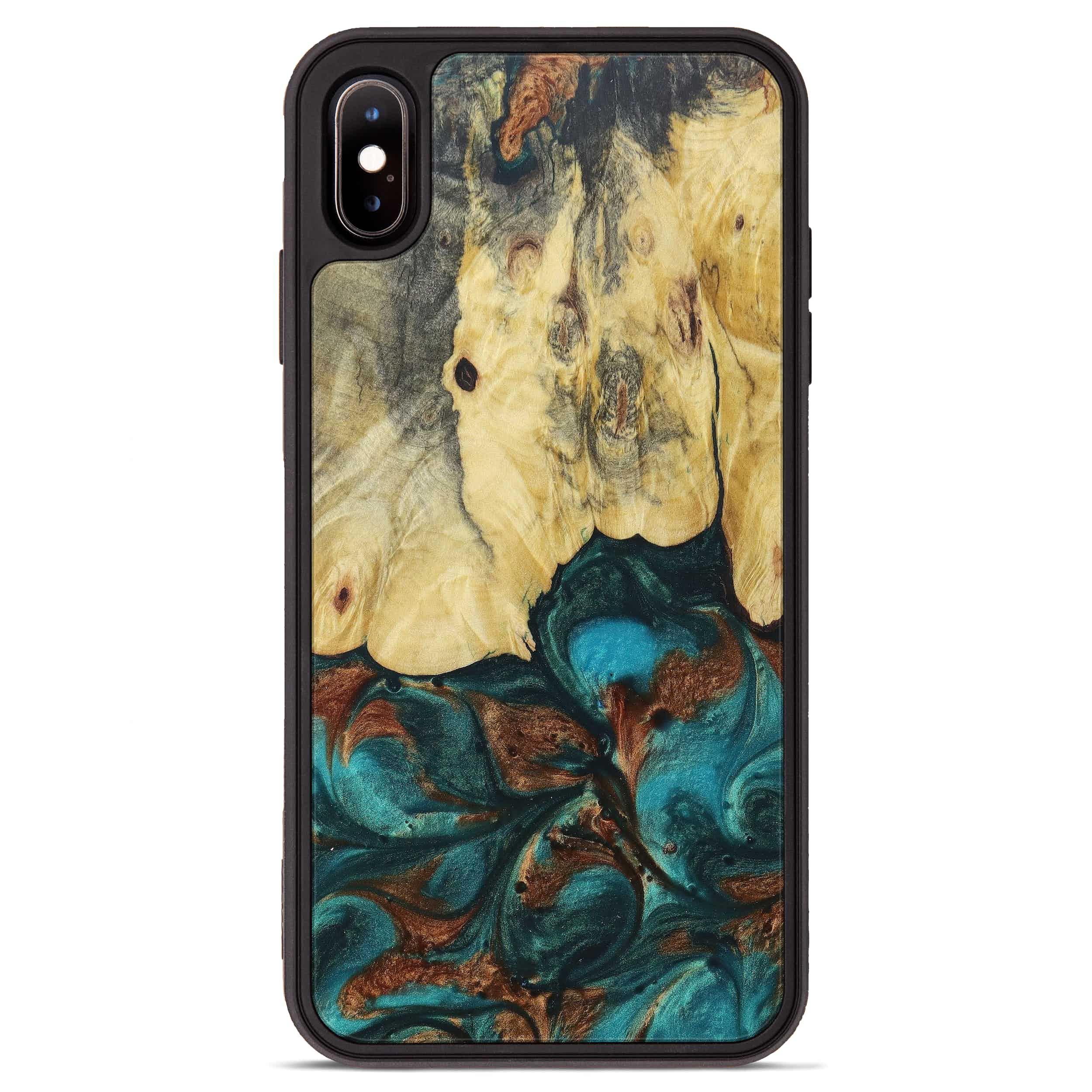 iPhone Xs Max Wood+Resin Phone Case - Karyl (Teal & Gold, 394387)