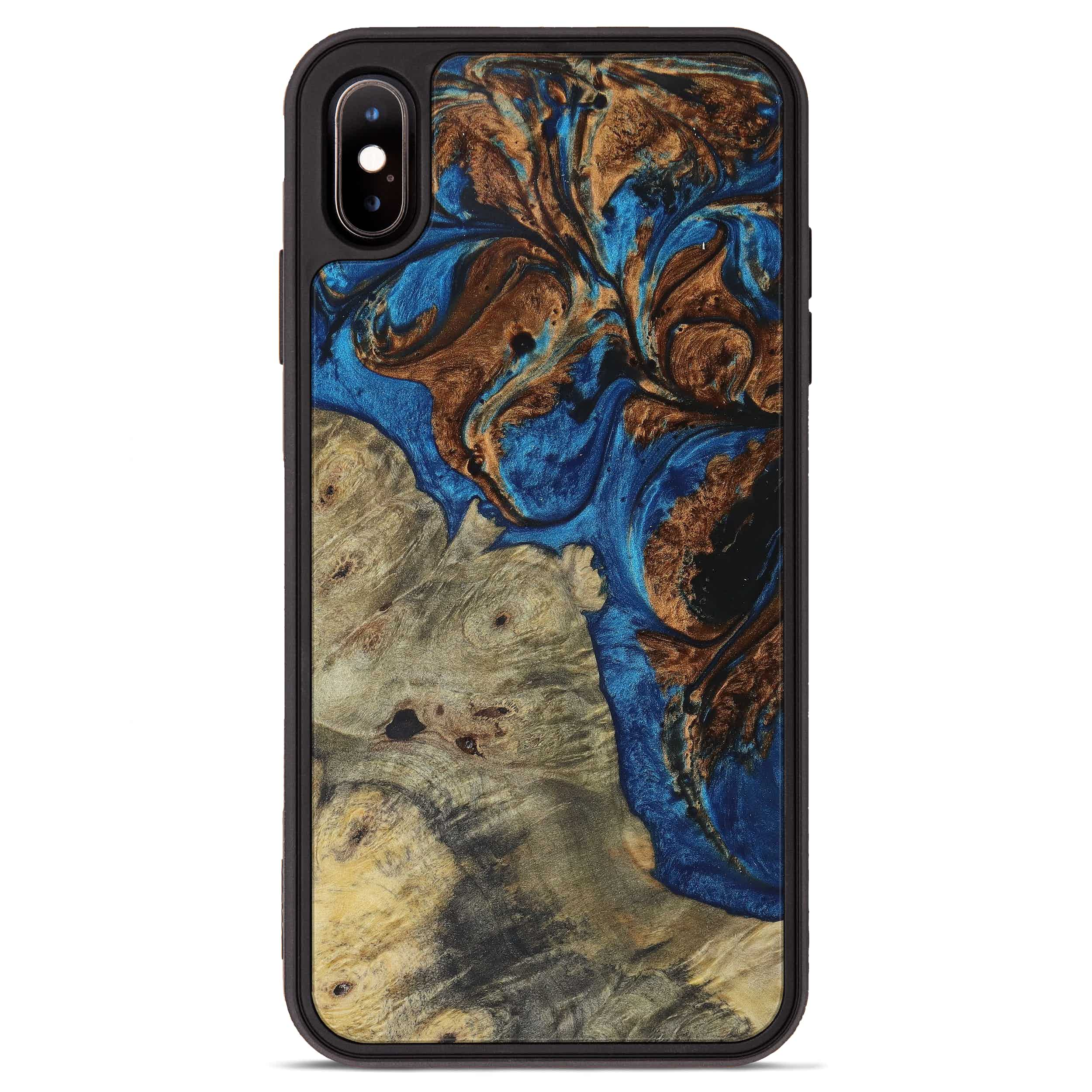 iPhone Xs Max Wood+Resin Phone Case - Pam (Teal & Gold, 394565)