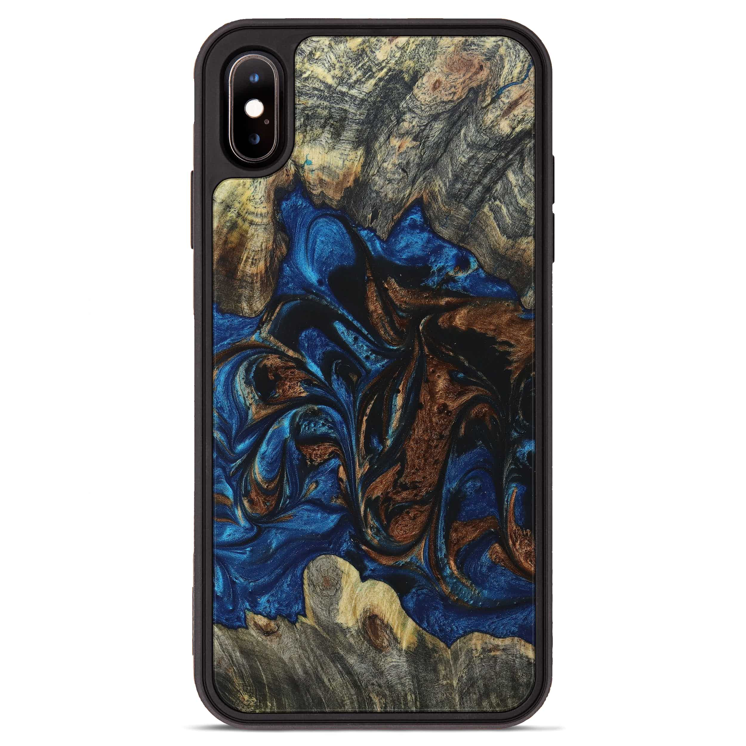 iPhone Xs Max Wood+Resin Phone Case - Lynnell (Teal & Gold, 394590)