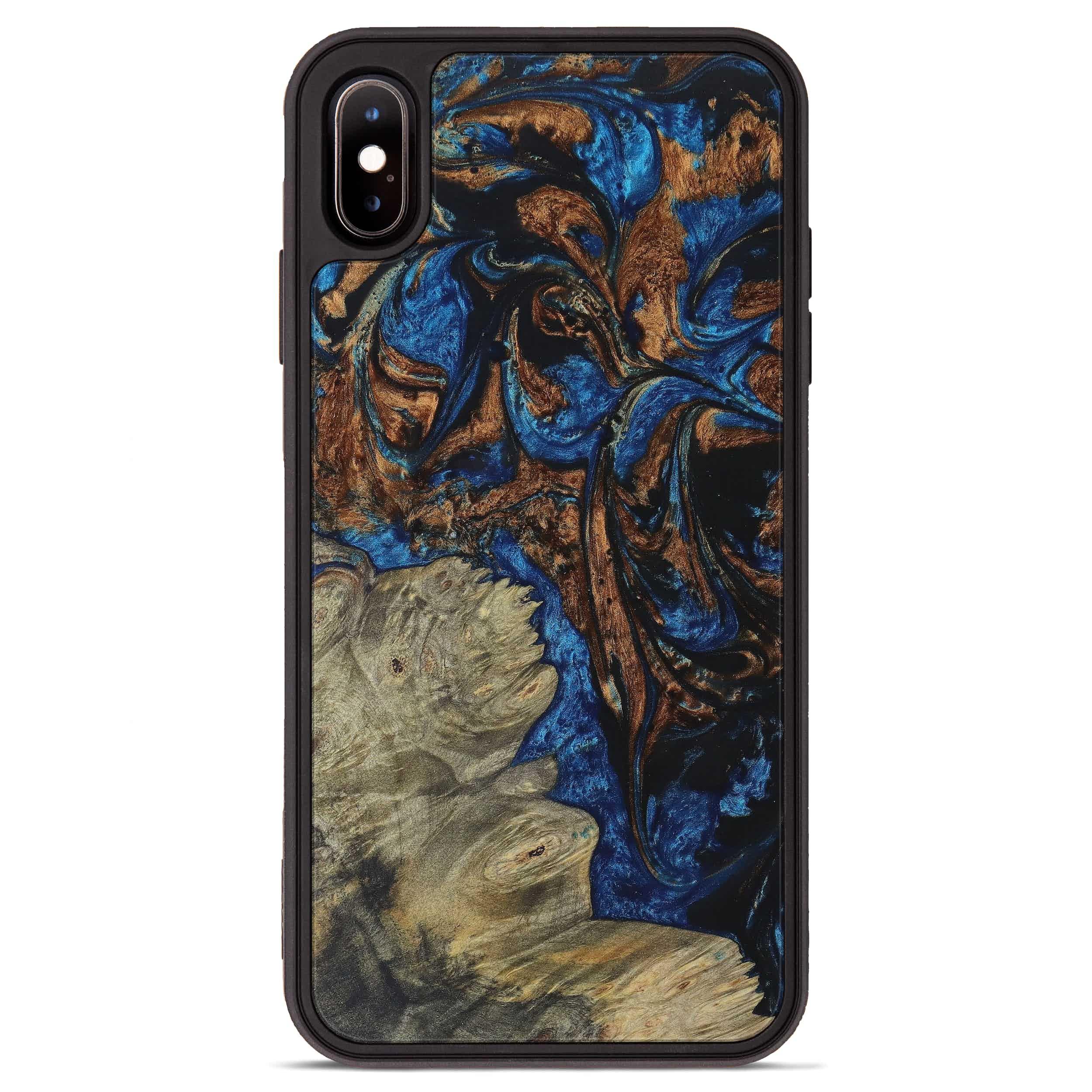iPhone Xs Max Wood+Resin Phone Case - Nicolea (Teal & Gold, 394591)