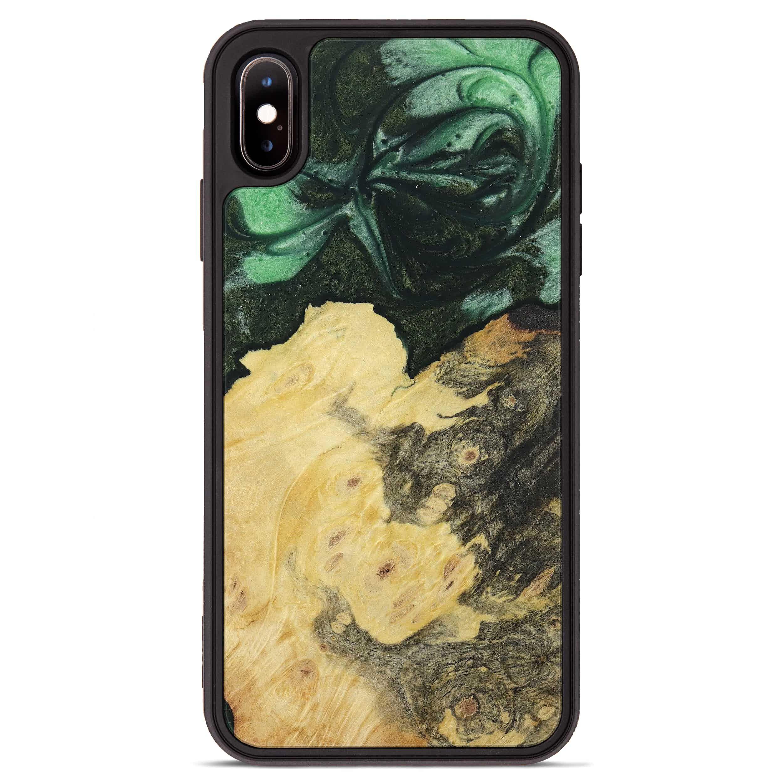 iPhone Xs Max Wood+Resin Phone Case - Pammi (Dark Green, 394616)