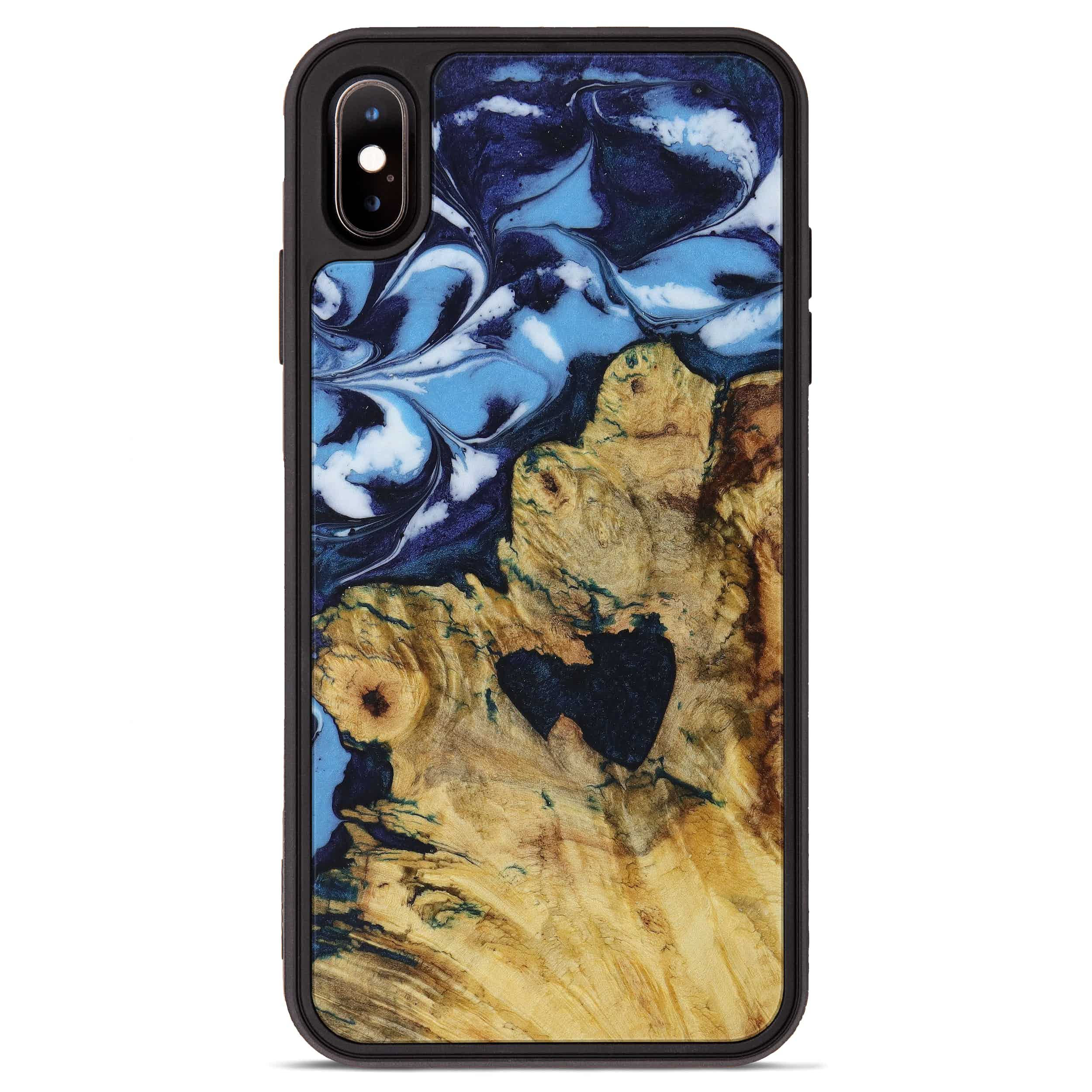iPhone Xs Max Wood+Resin Phone Case - Ramana (Dark Blue, 394649)