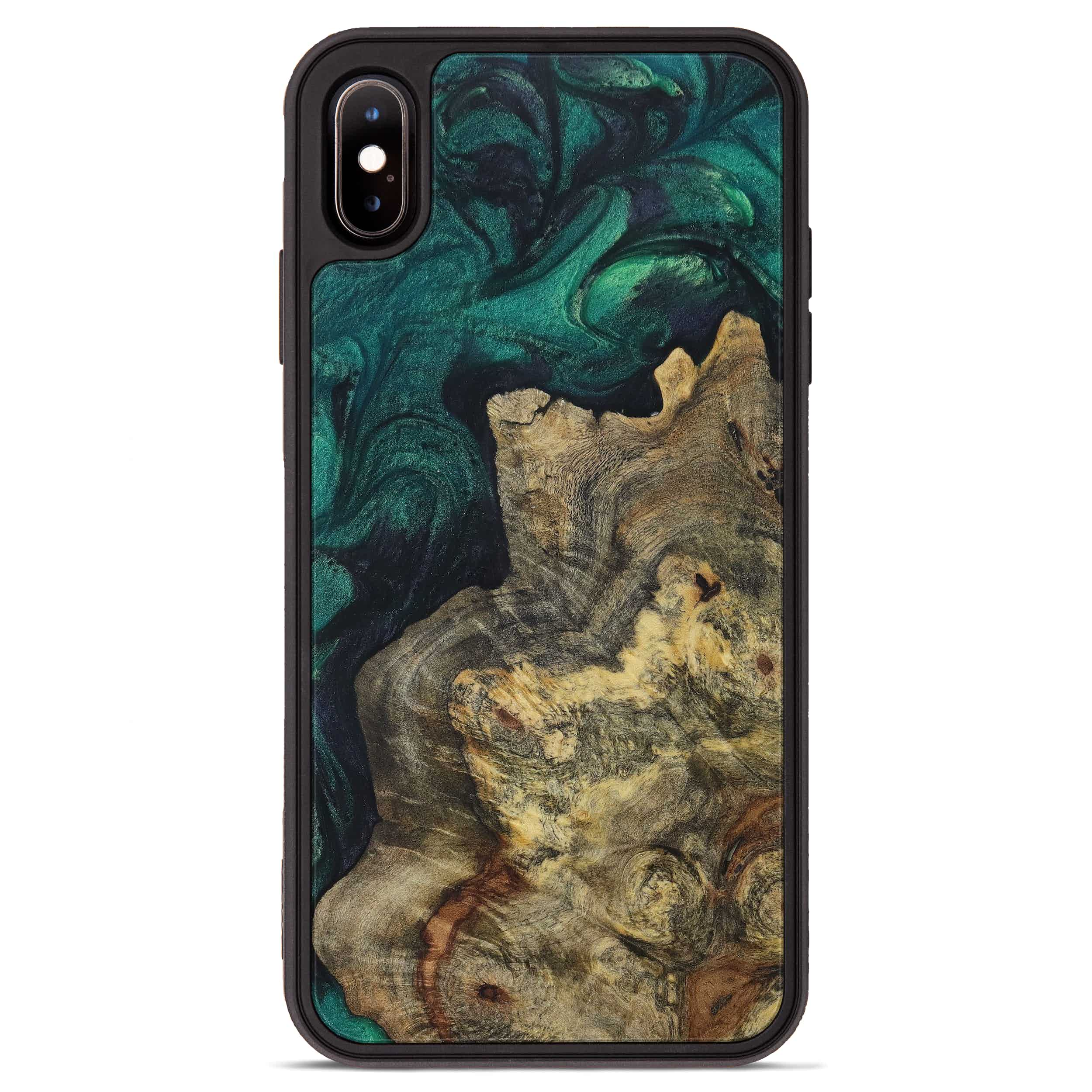 iPhone Xs Max Wood+Resin Phone Case - Rheta (Dark Green, 394662)