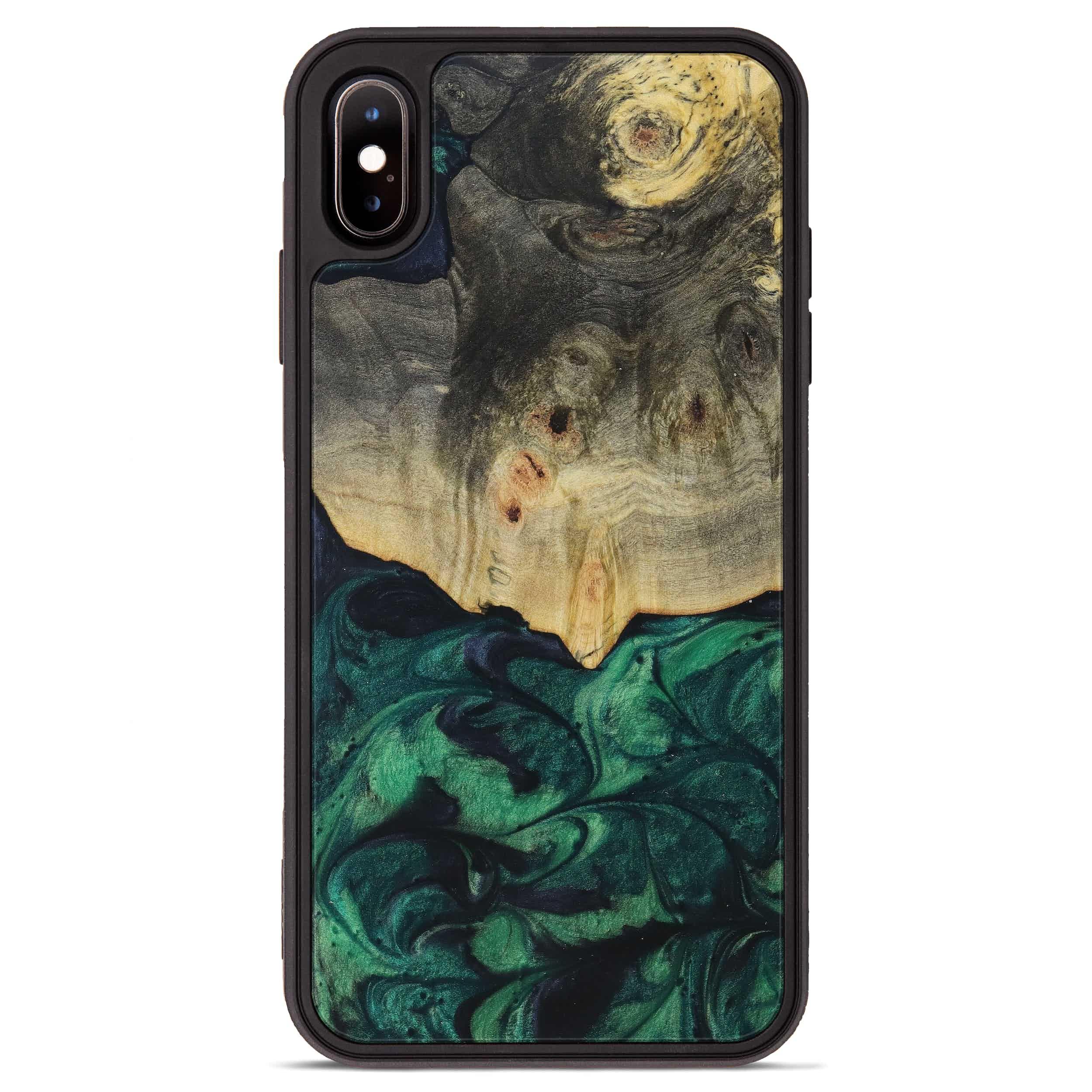 iPhone Xs Max Wood+Resin Phone Case - Ivo (Dark Green, 394669)