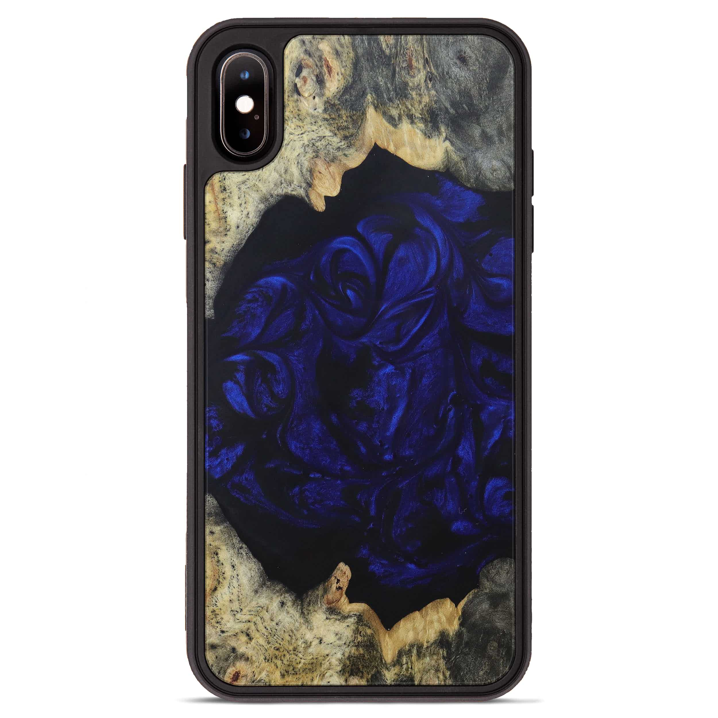 iPhone Xs Max Wood+Resin Phone Case - Karoly (Dark Blue, 394676)