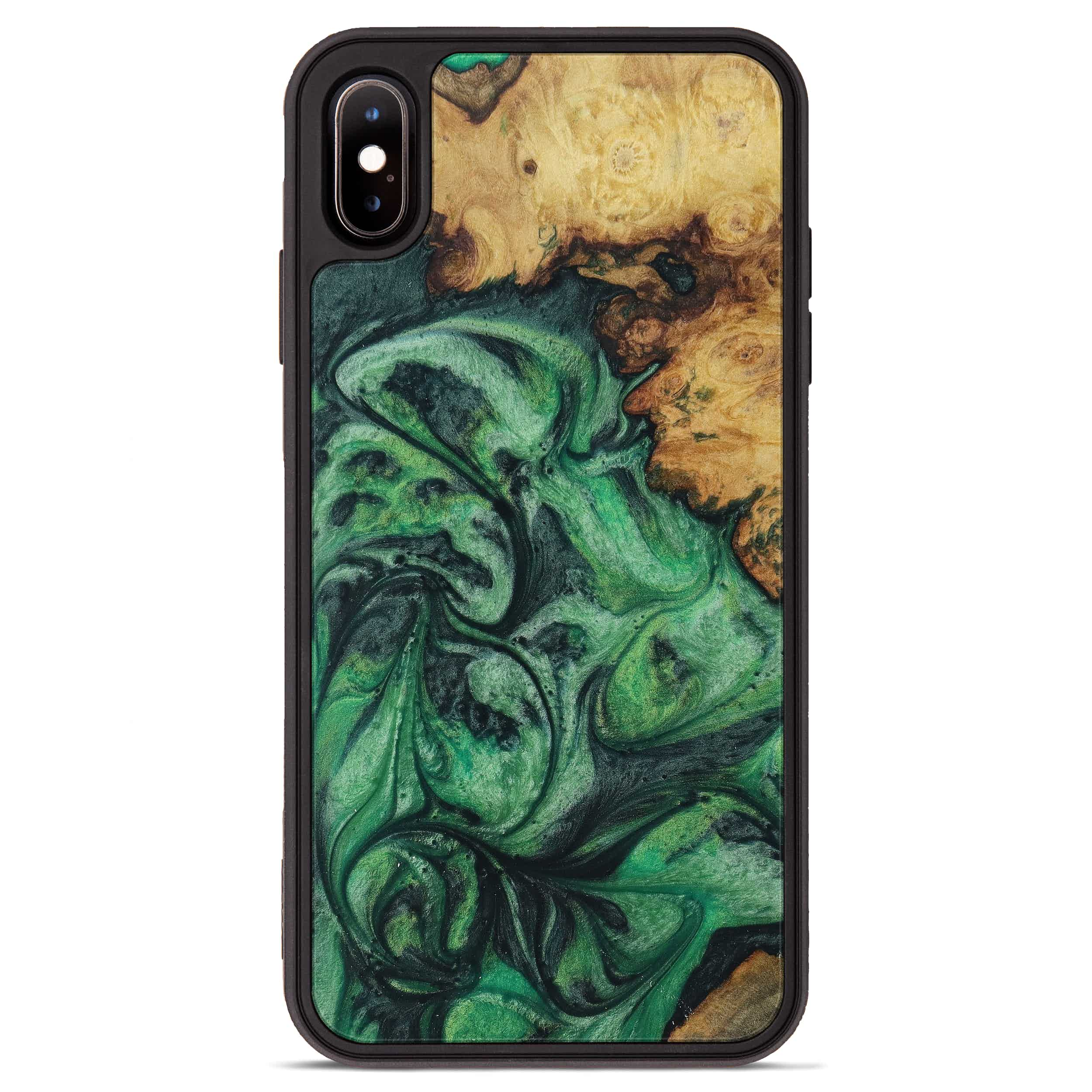iPhone Xs Max Wood+Resin Phone Case - Yoke (Dark Green, 394695)