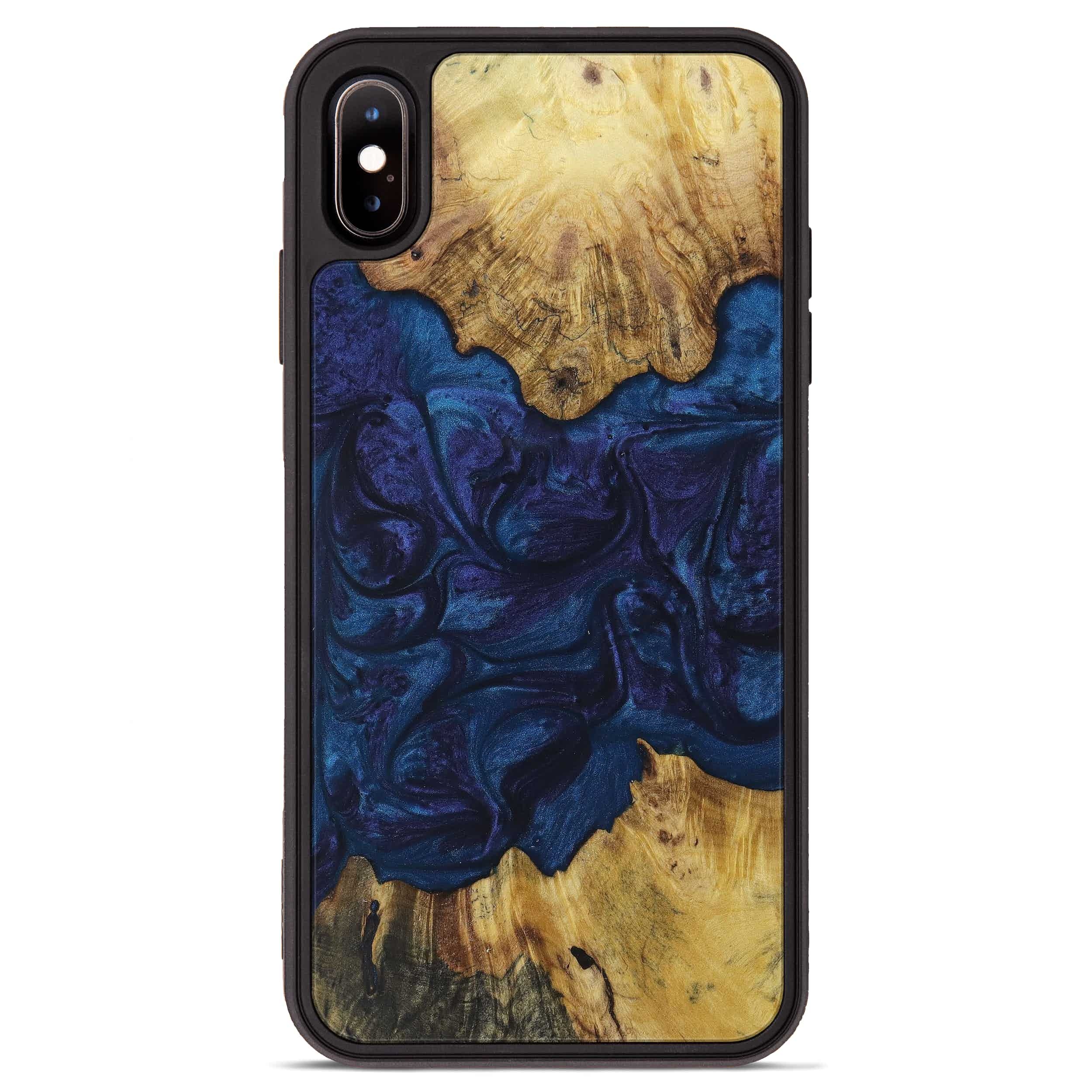 iPhone Xs Max Wood+Resin Phone Case - Josephina (Dark Blue, 394712)