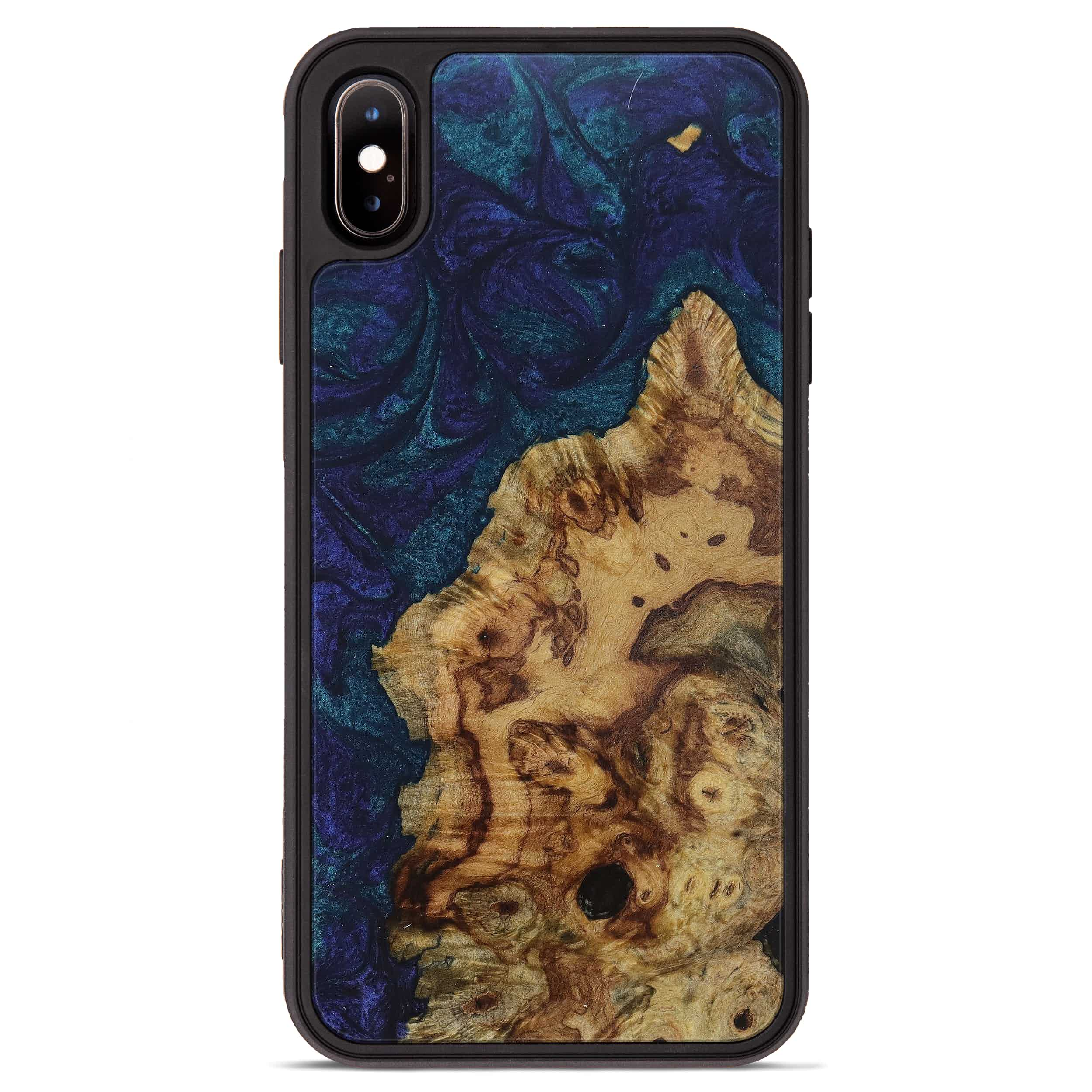 iPhone Xs Max Wood+Resin Phone Case - Carry (Dark Blue, 394713)