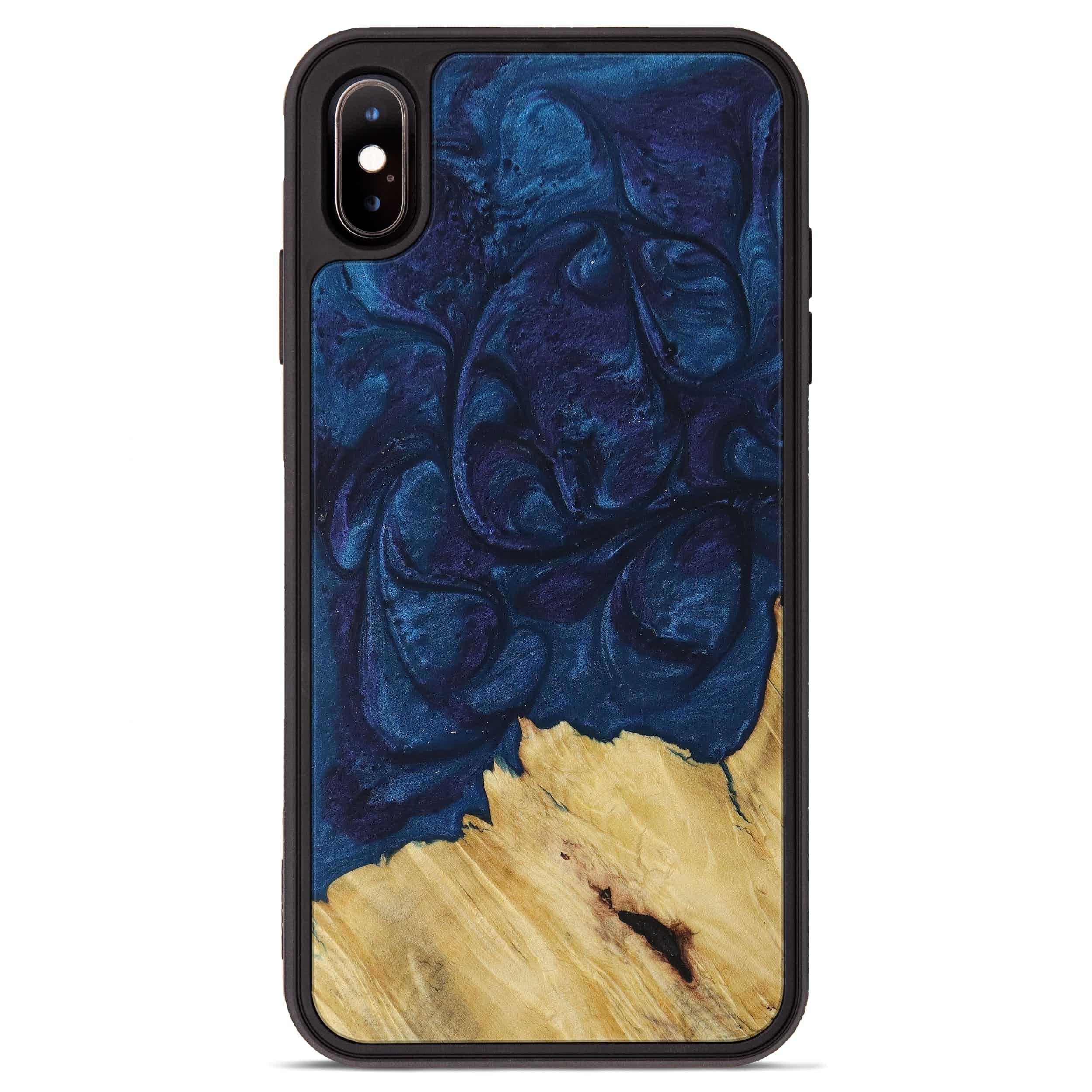 iPhone Xs Max Wood+Resin Phone Case - Izumi (Dark Blue, 394715)