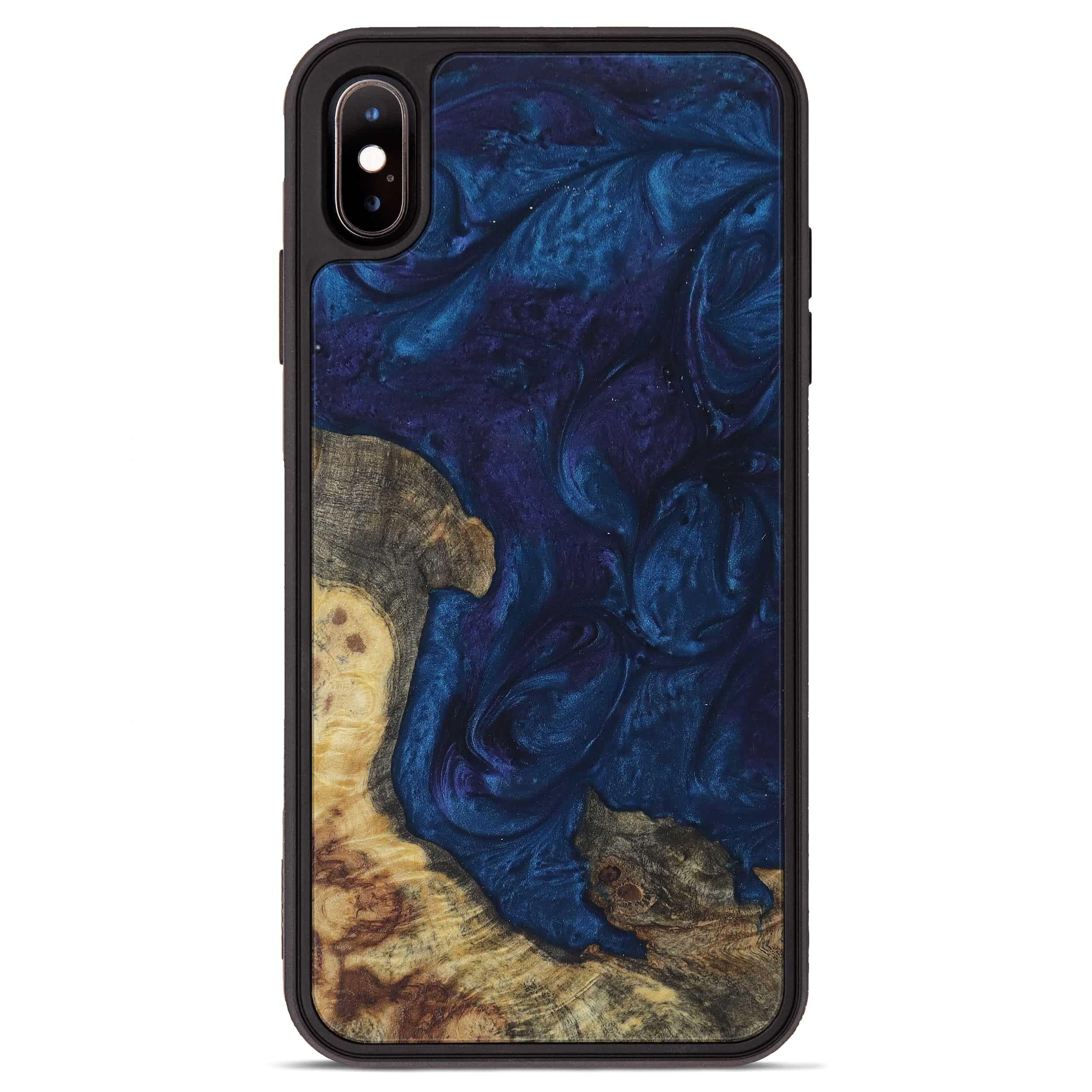 iPhone Xs Max Wood+Resin Phone Case - Ilse (Dark Blue, 394718)