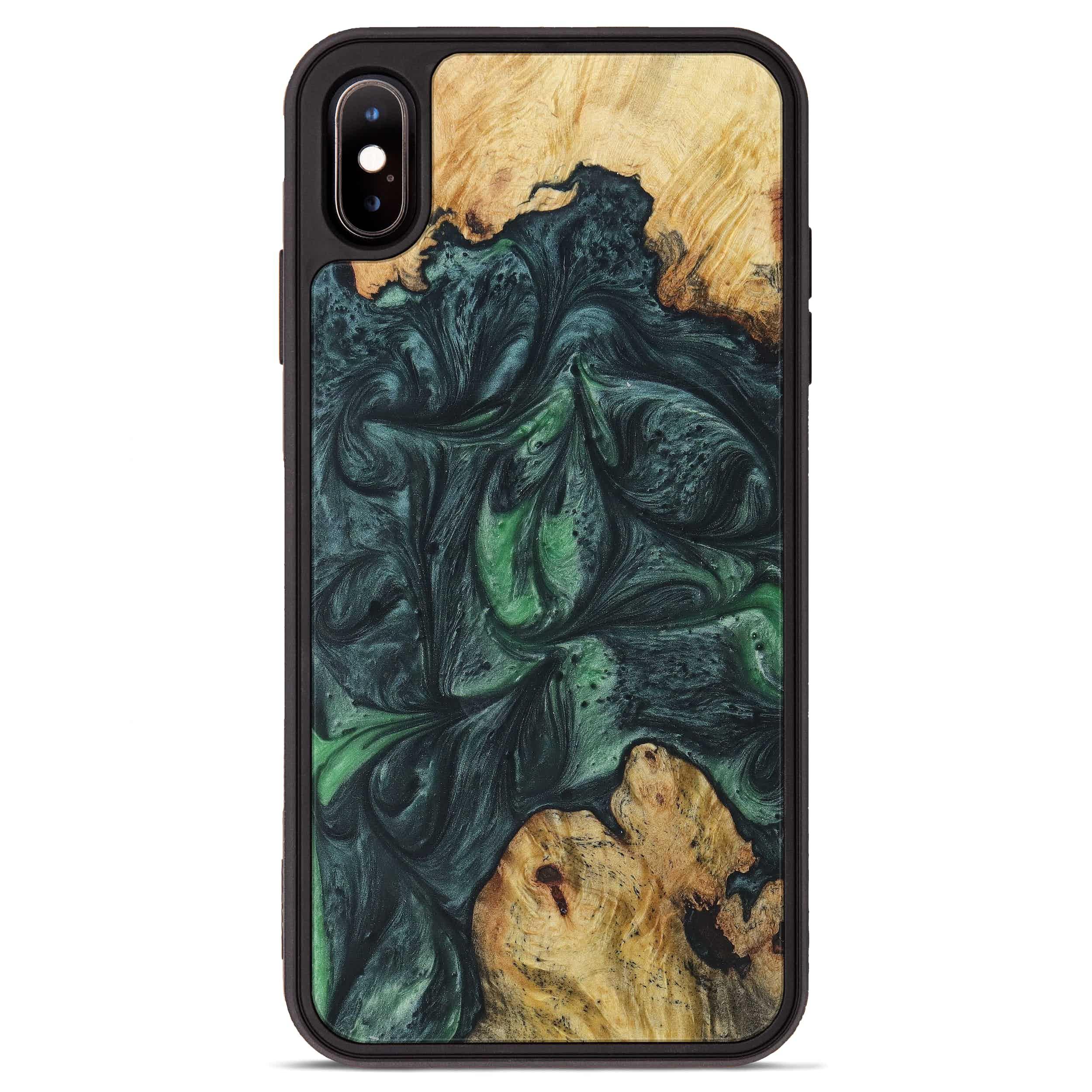 iPhone Xs Max Wood+Resin Phone Case - Lib (Dark Green, 394723)