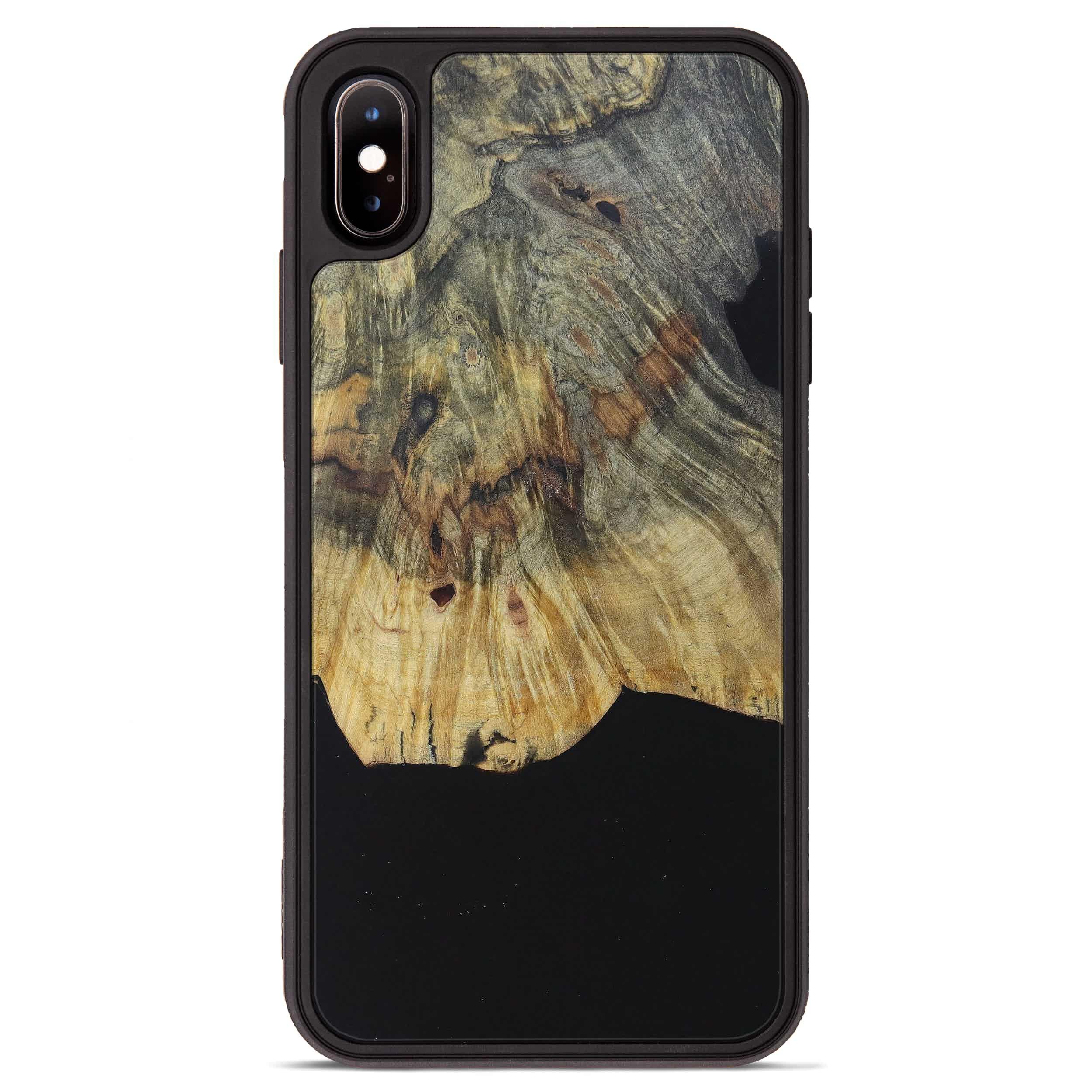 iPhone Xs Max Wood+Resin Phone Case - Meta (Pure Black, 394734)