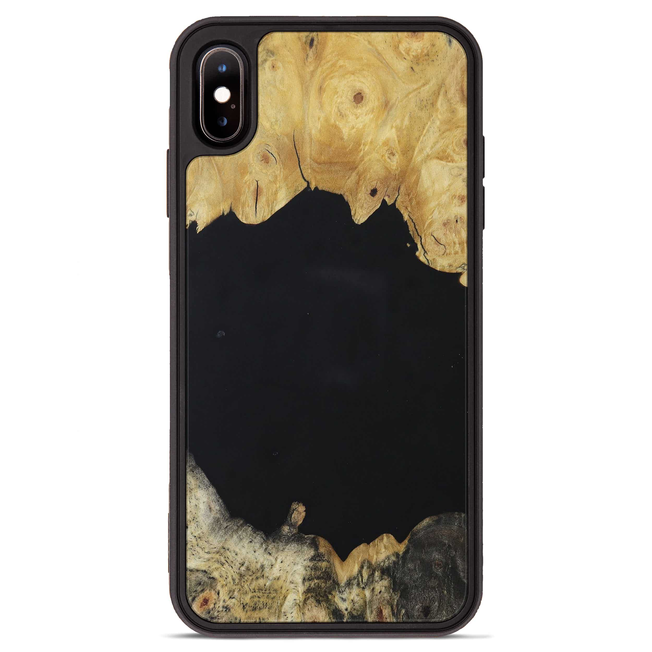 iPhone Xs Max Wood+Resin Phone Case - Amalee (Pure Black, 394739)