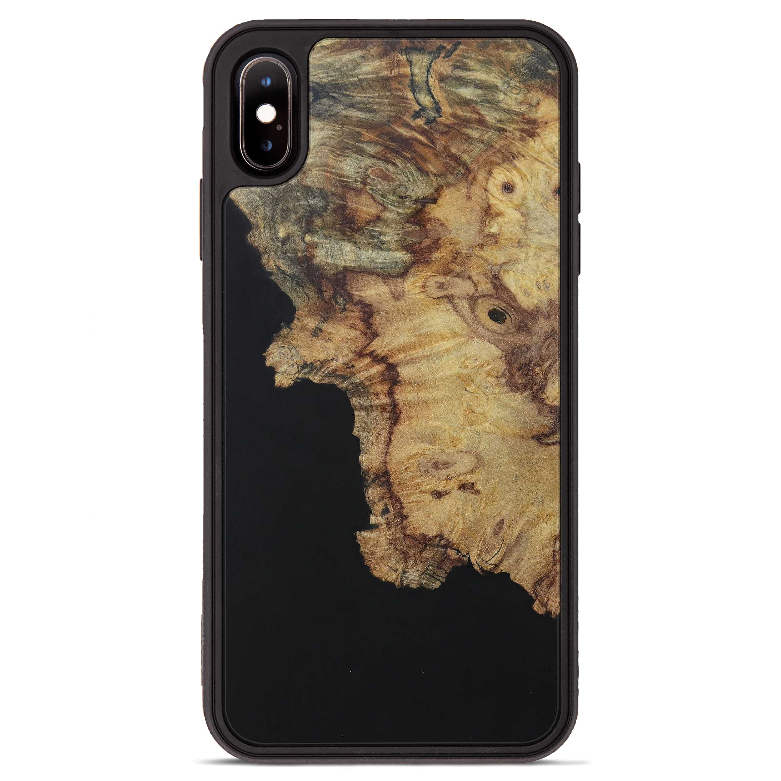 iPhone Xs Max Wood+Resin Phone Case - Ryann (Pure Black, 394742)