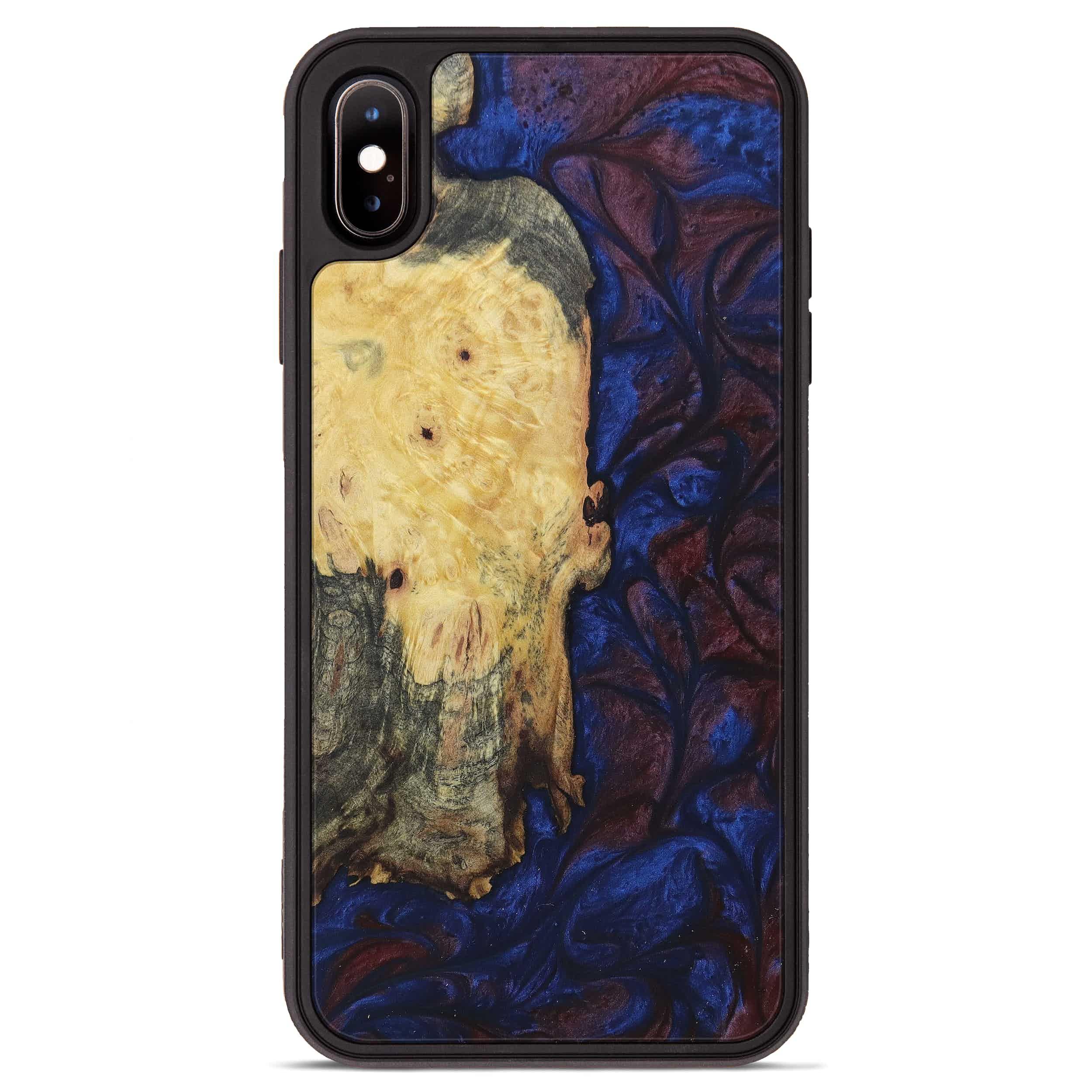 iPhone Xs Max Wood+Resin Phone Case - Balakrishna (Blue & Red, 394787)