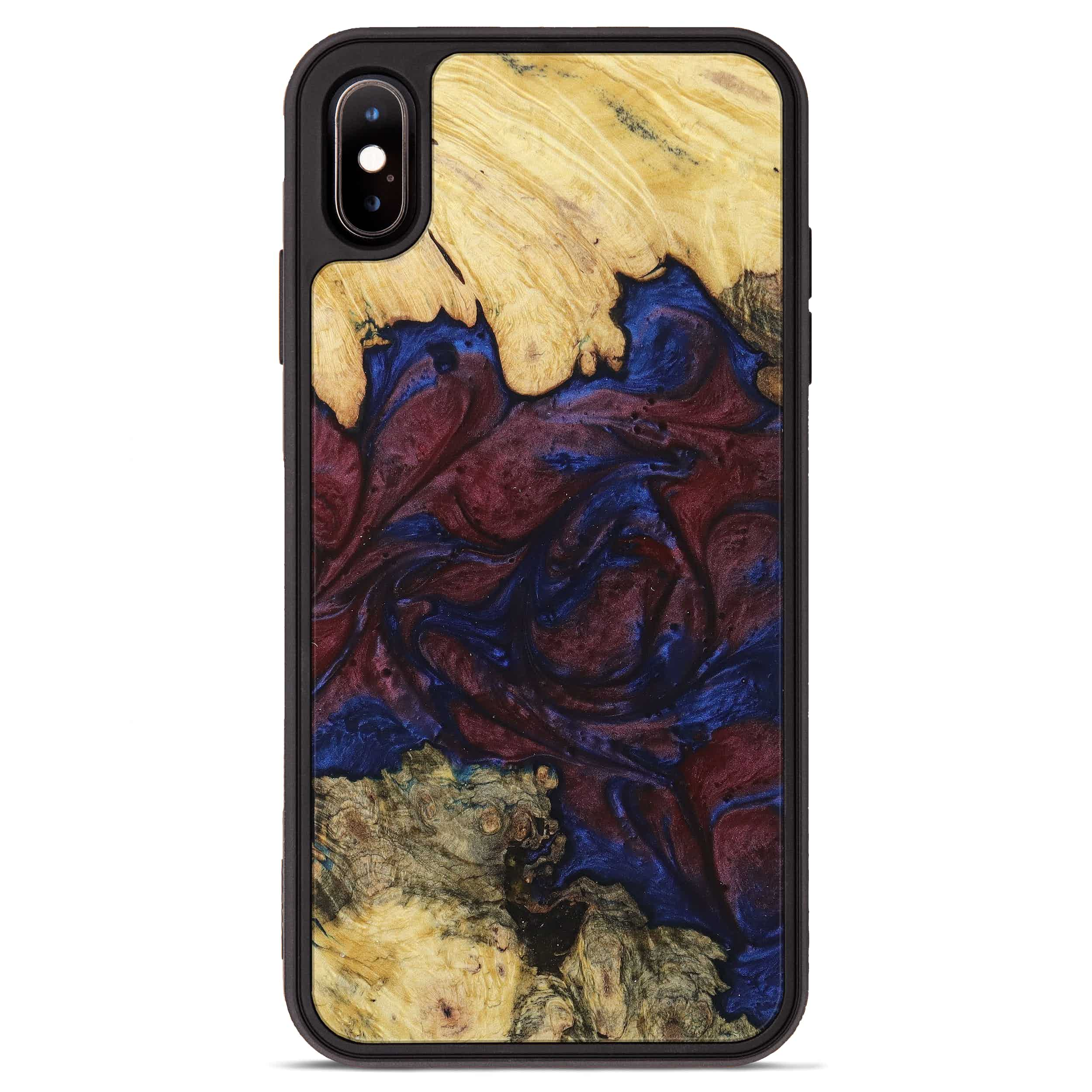 iPhone Xs Max Wood+Resin Phone Case - Asnat (Blue & Red, 394803)