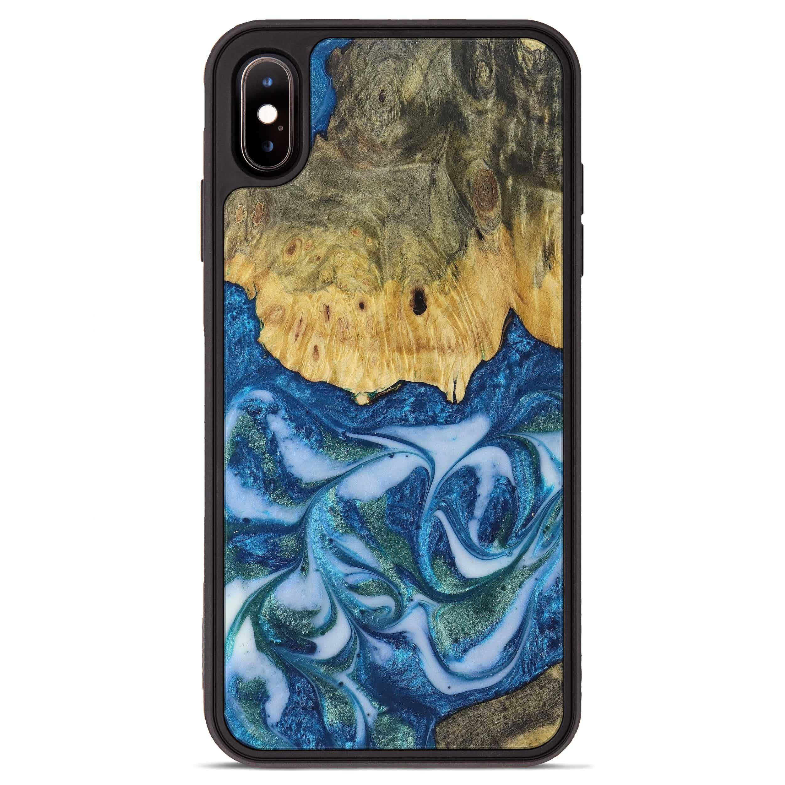 iPhone Xs Max Wood+Resin Phone Case - Rosanne (Light Blue, 394822)
