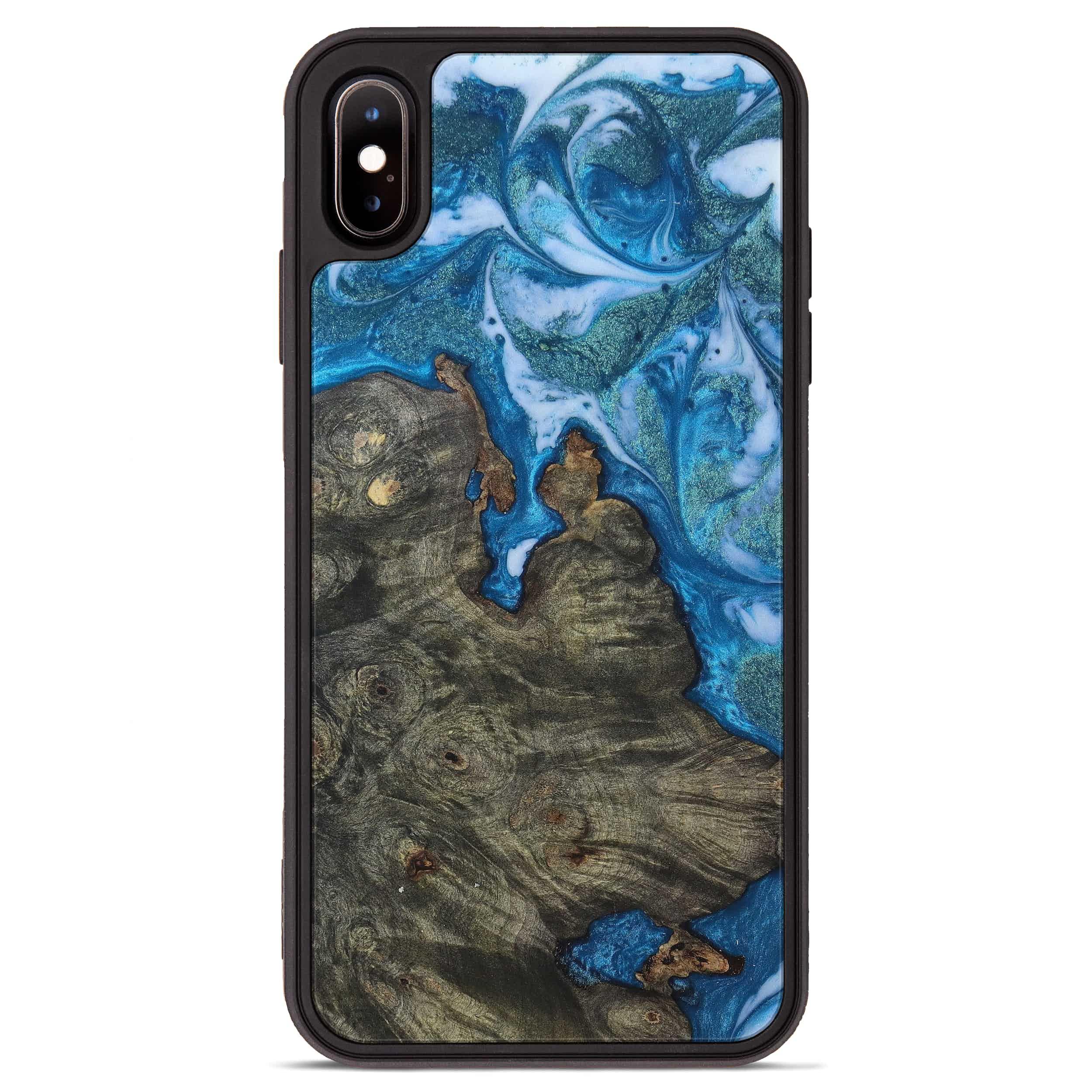 iPhone Xs Max Wood+Resin Phone Case - Hoekstra (Light Blue, 394824)