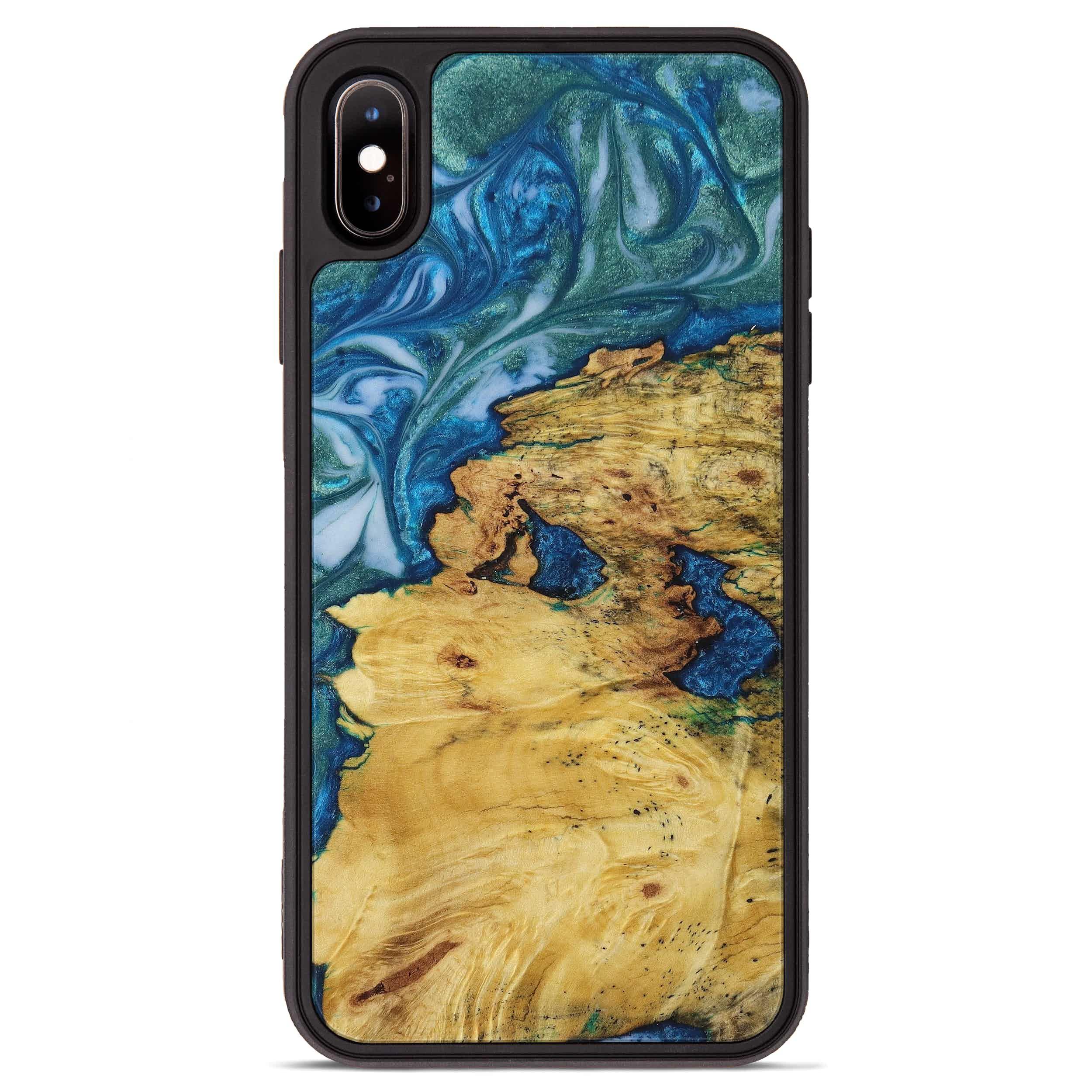 iPhone Xs Max Wood+Resin Phone Case - Henrietta (Light Blue, 394833)