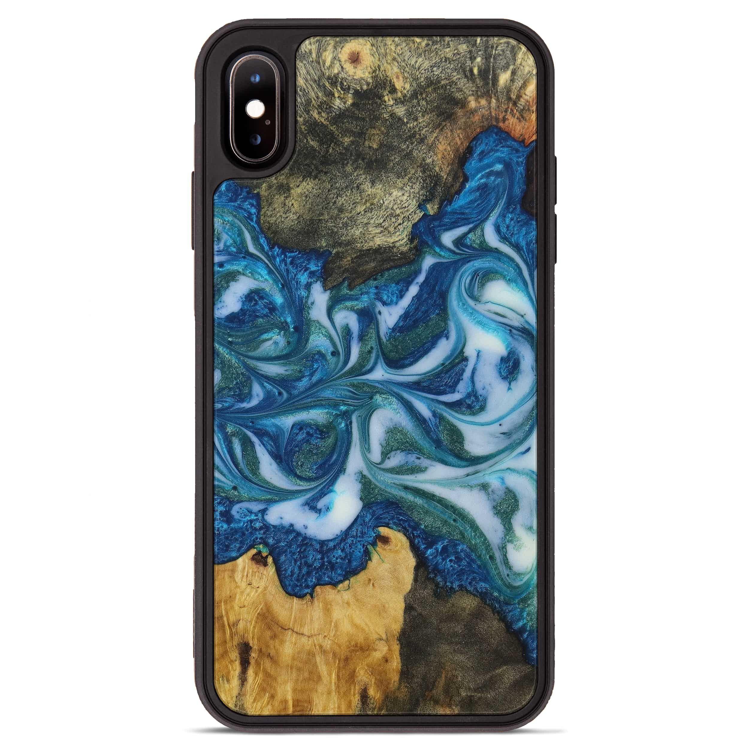 iPhone Xs Max Wood+Resin Phone Case - Shedman (Light Blue, 394834)