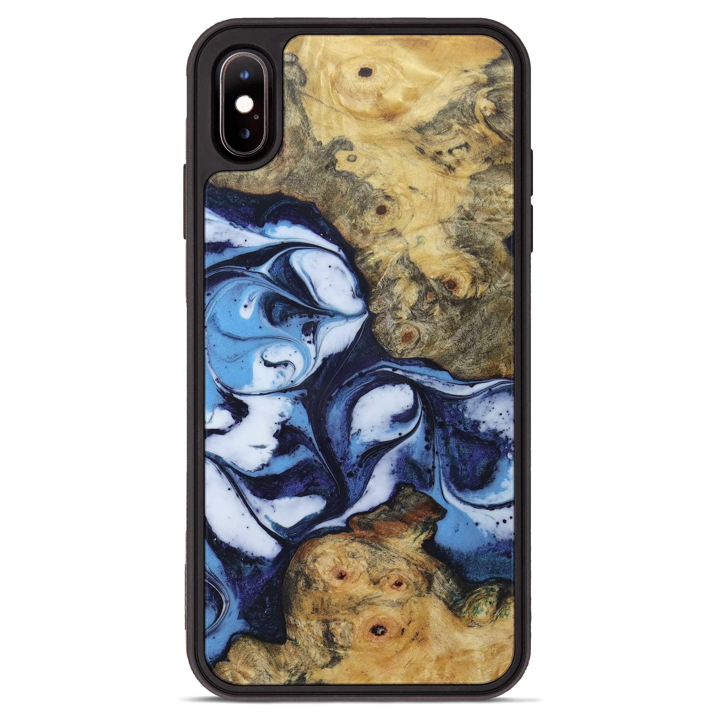 iPhone Xs Max Wood+Resin Phone Case - Midge (Dark Blue, 394889)