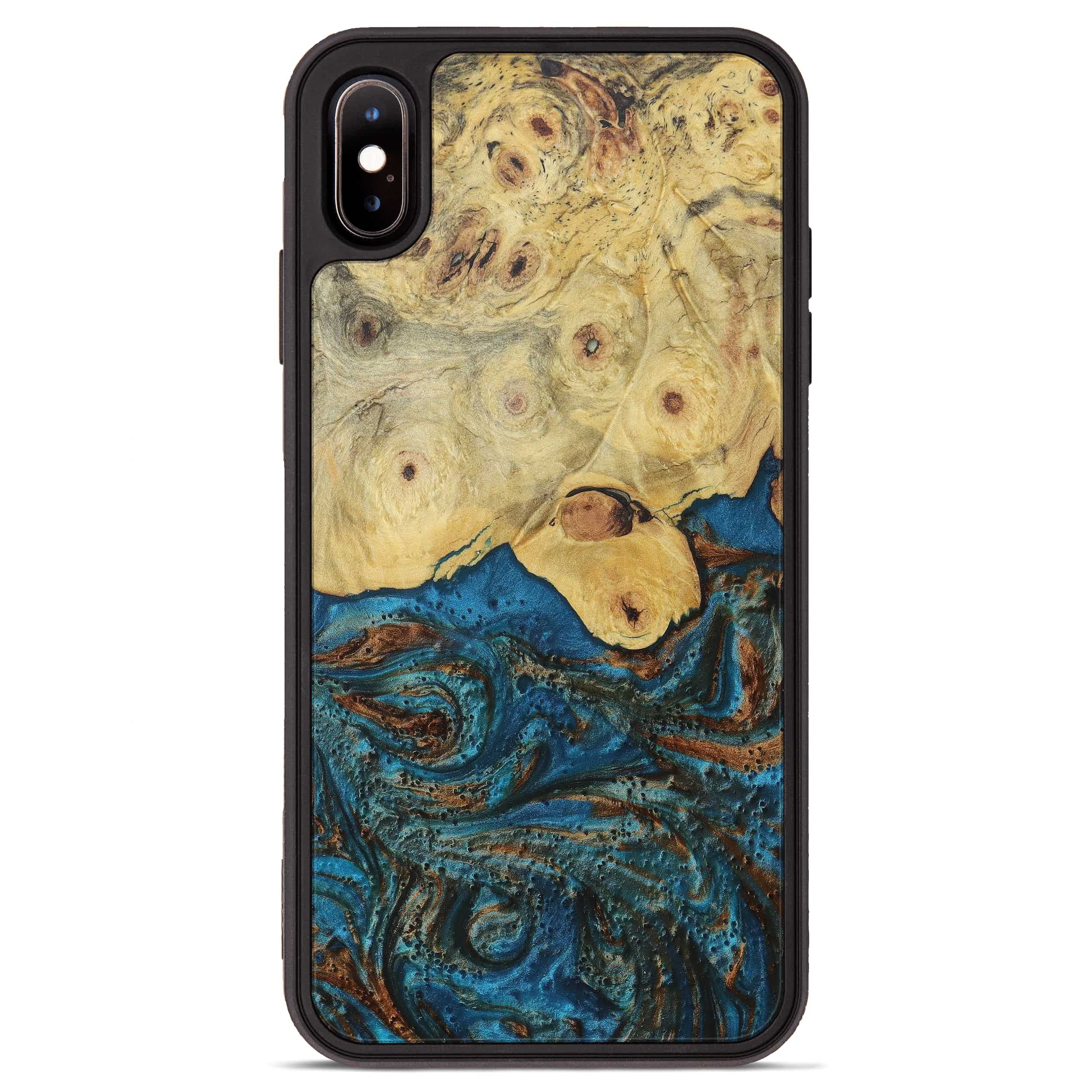 iPhone Xs Max Wood+Resin Phone Case - Tom (Teal & Gold, 394931)