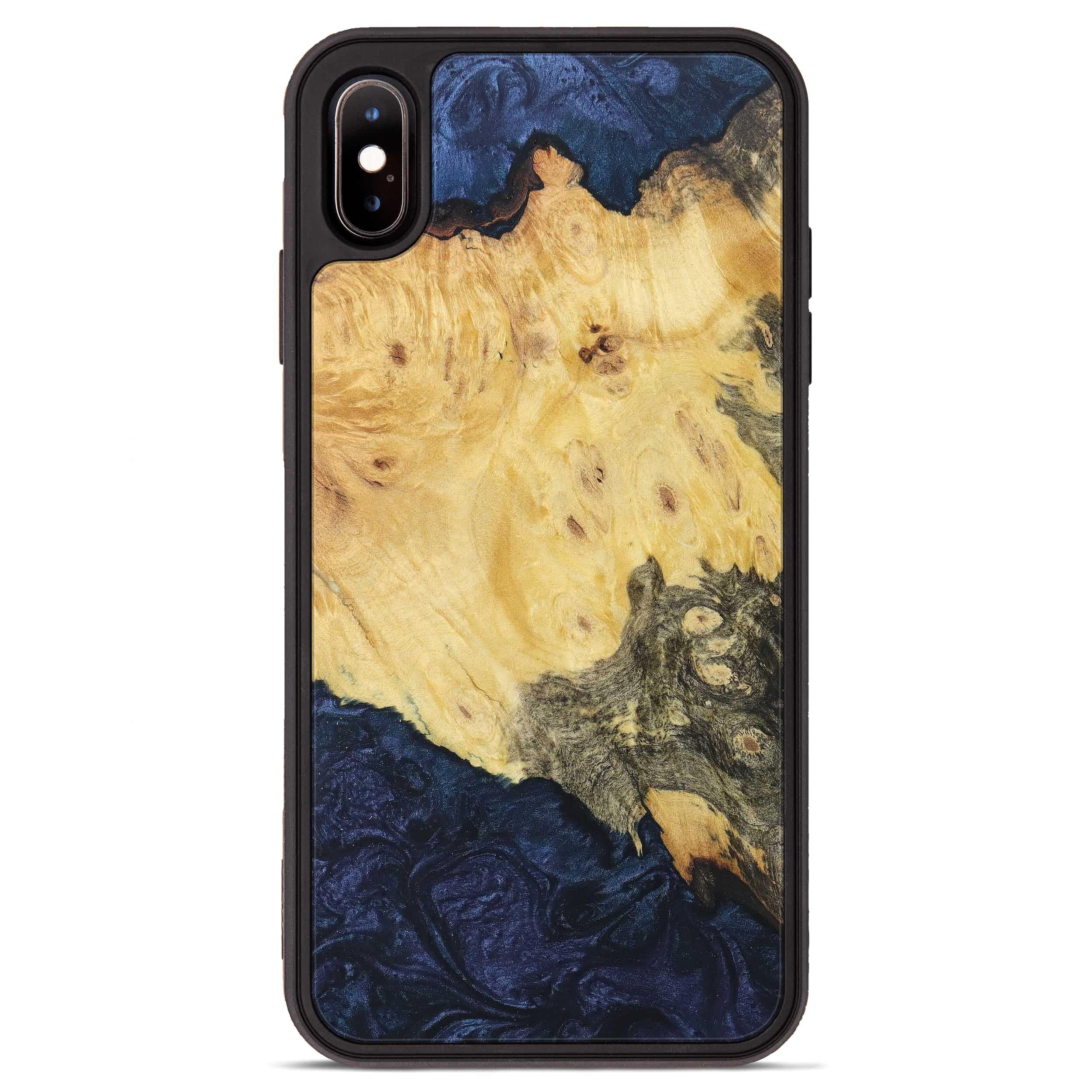 iPhone Xs Max Wood+Resin Phone Case - Zohar (Dark Blue, 394980)