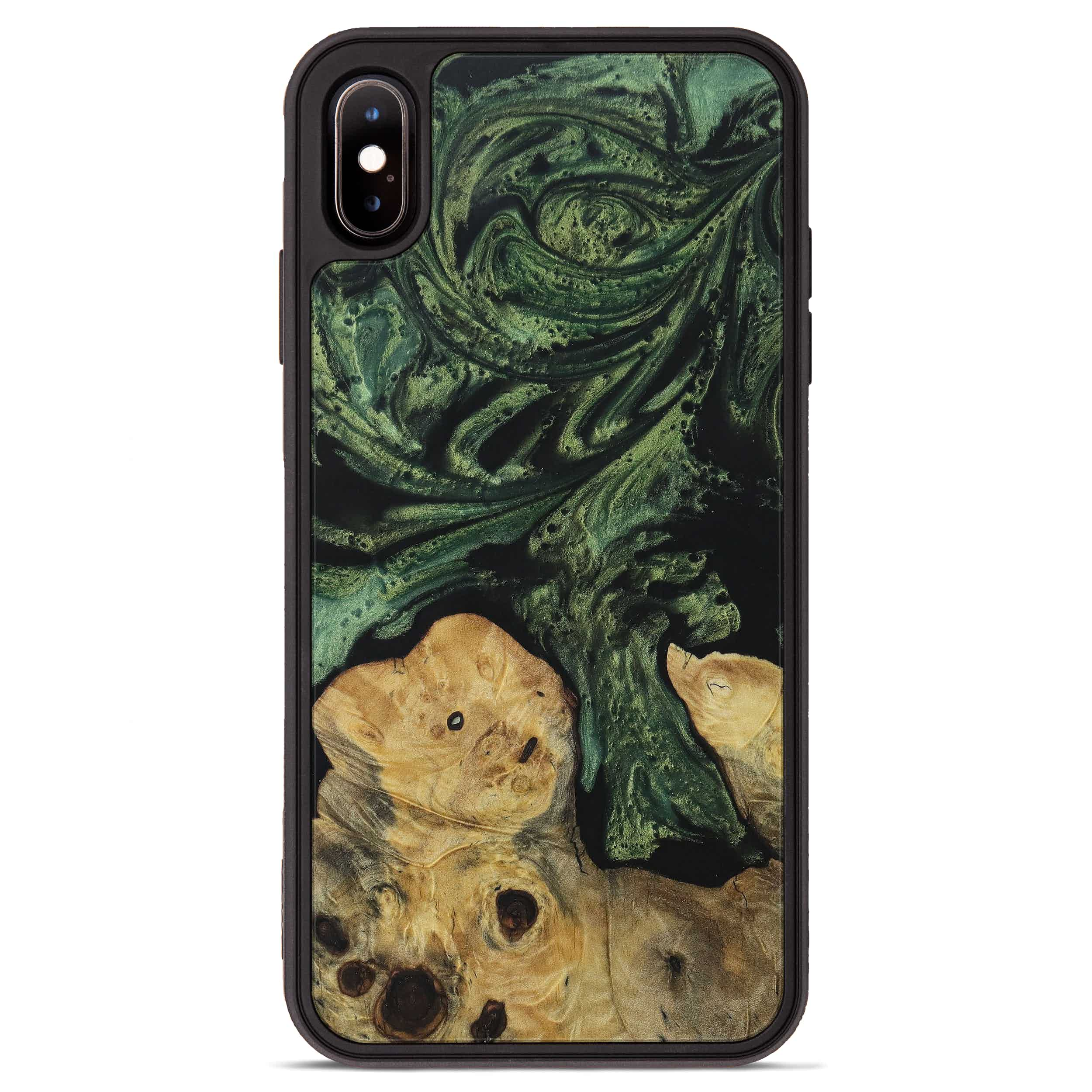 iPhone Xs Max Wood+Resin Phone Case - Wieslawa (Dark Green, 395071)