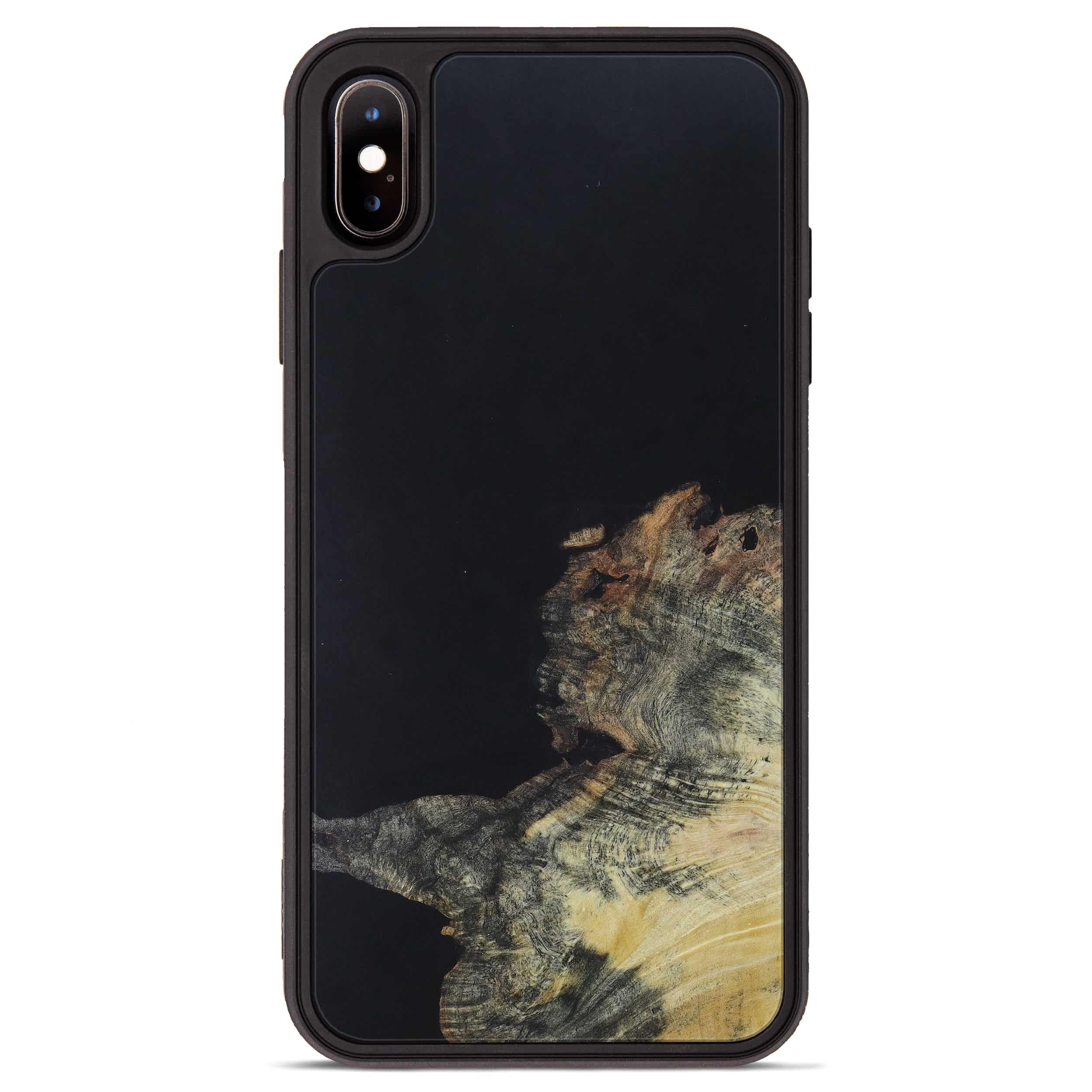 iPhone Xs Max Wood+Resin Phone Case - Arne (Pure Black, 395150)