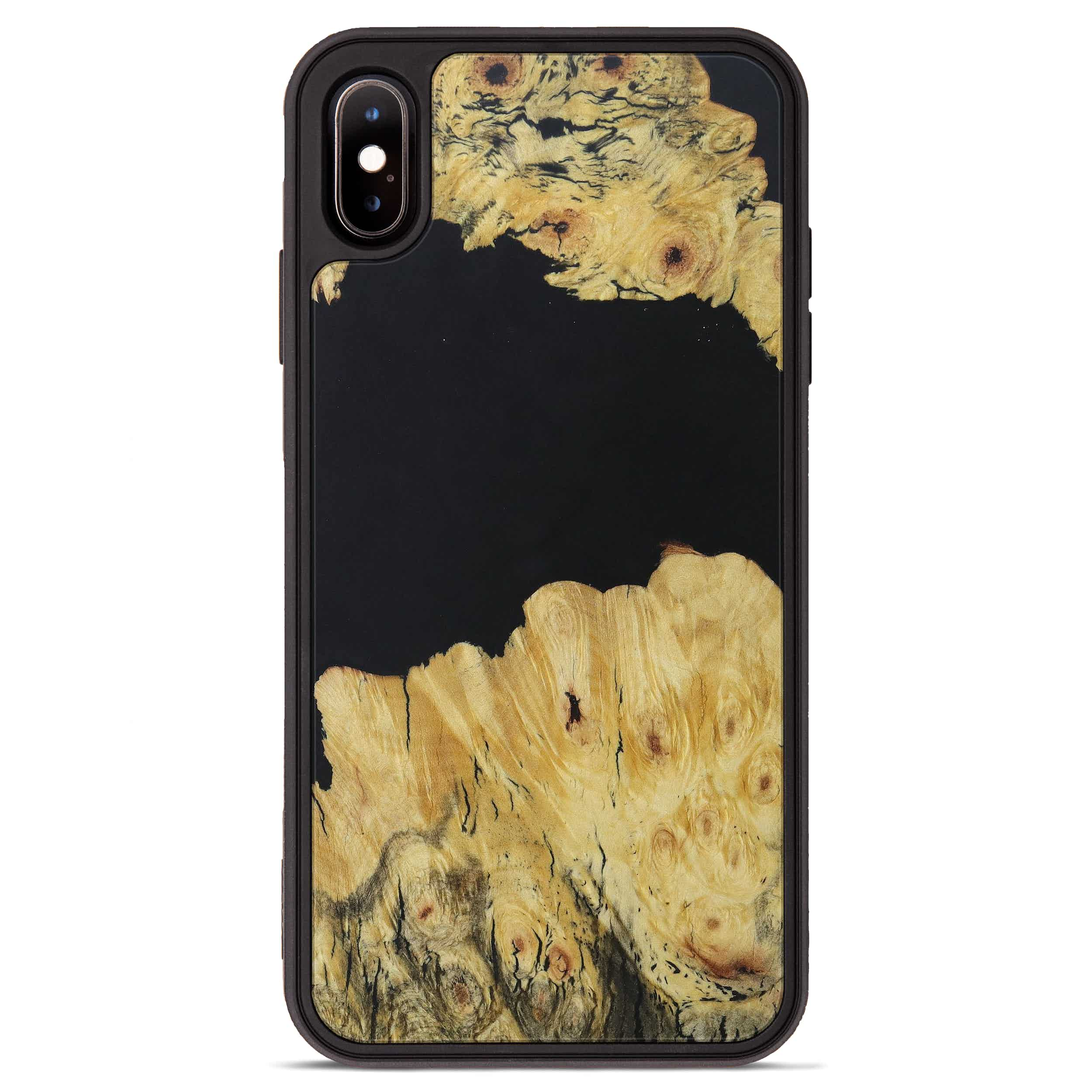 iPhone Xs Max Wood+Resin Phone Case - Darelle (Pure Black, 395155)