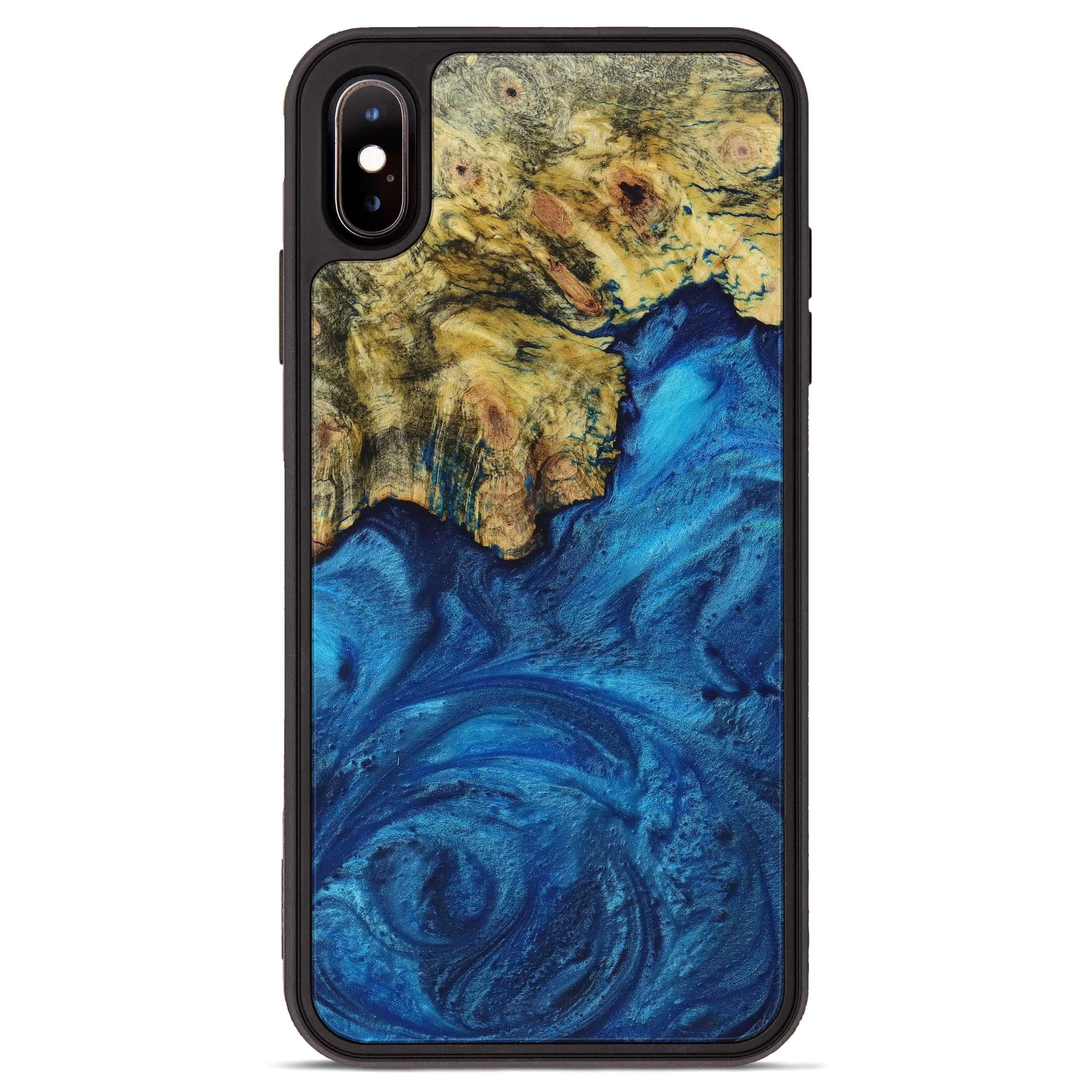 iPhone Xs Max Wood+Resin Phone Case - Meridel (Dark Blue, 395183)