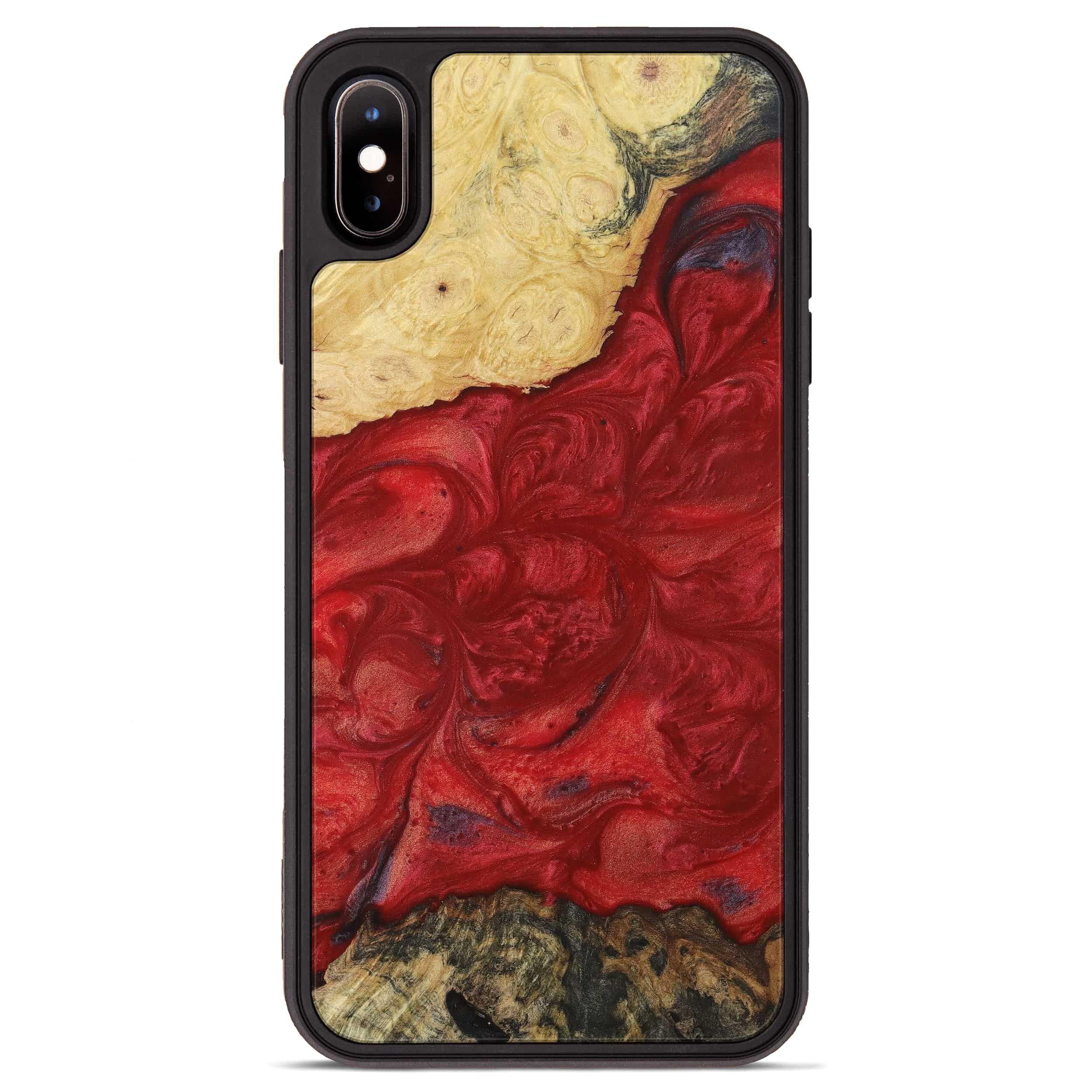 iPhone Xs Max Wood+Resin Phone Case - Cortney (Dark Red, 395196)