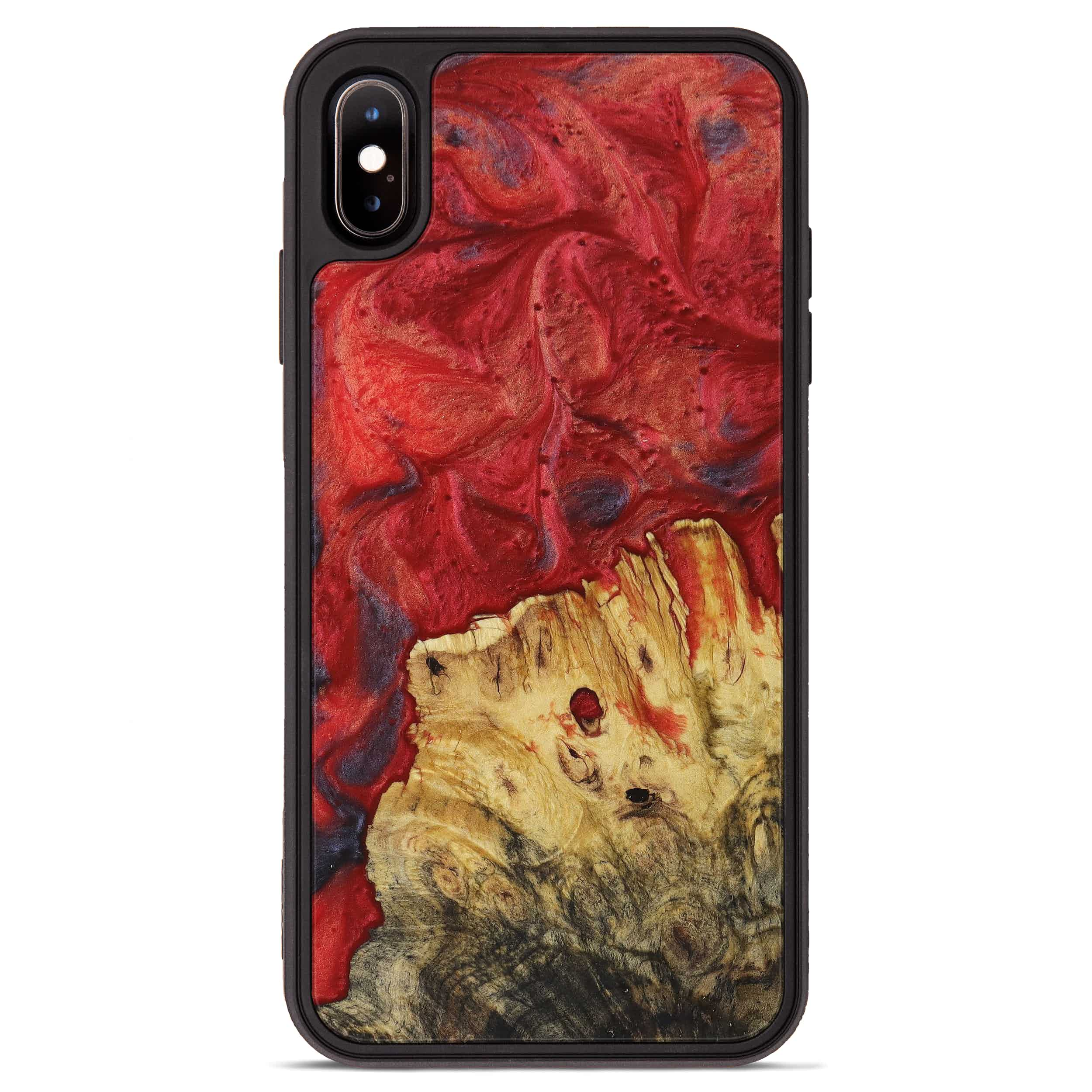 iPhone Xs Max Wood+Resin Phone Case - Cleve (Dark Red, 395199)