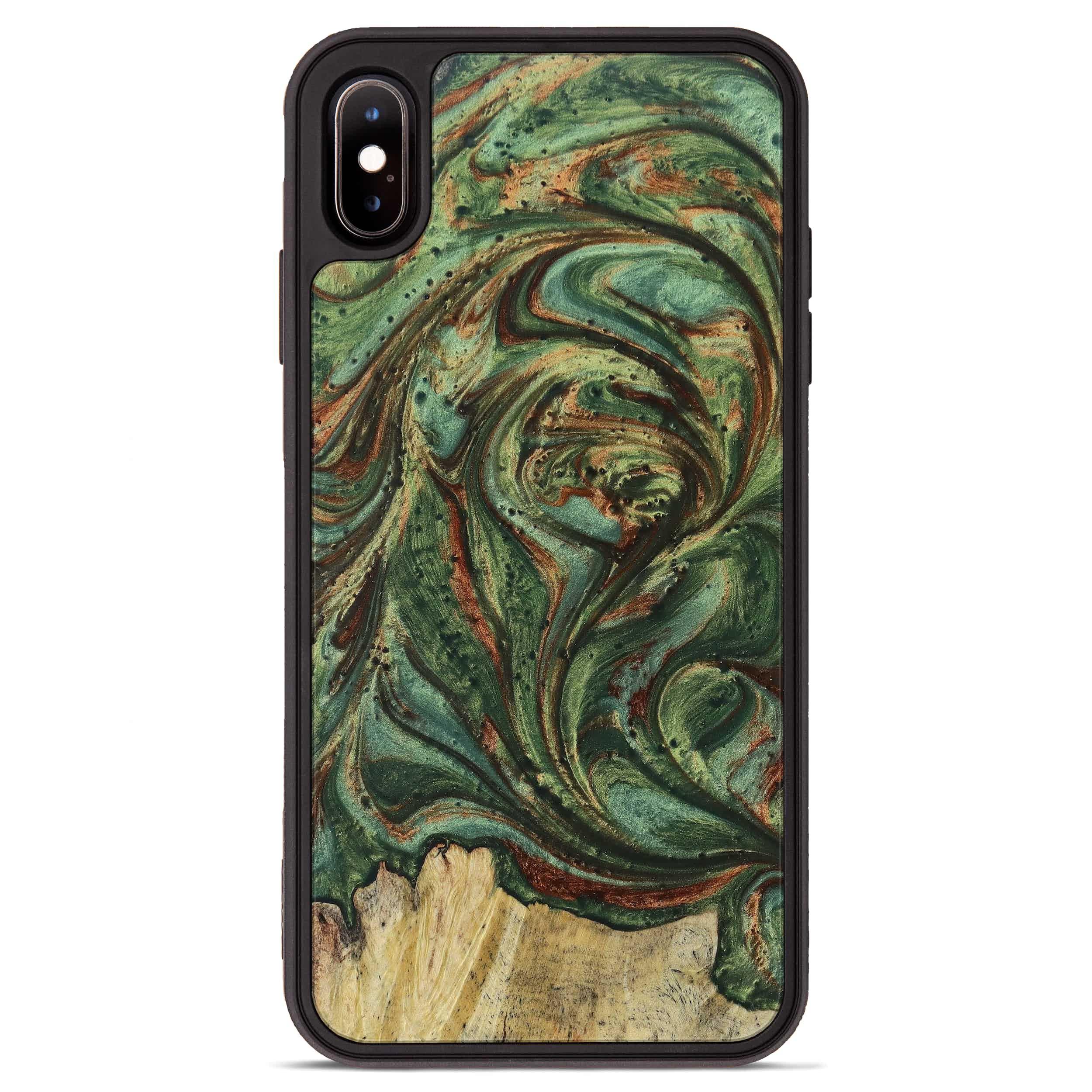 iPhone Xs Max Wood+Resin Phone Case - Bernadene (Dark Green, 395221)