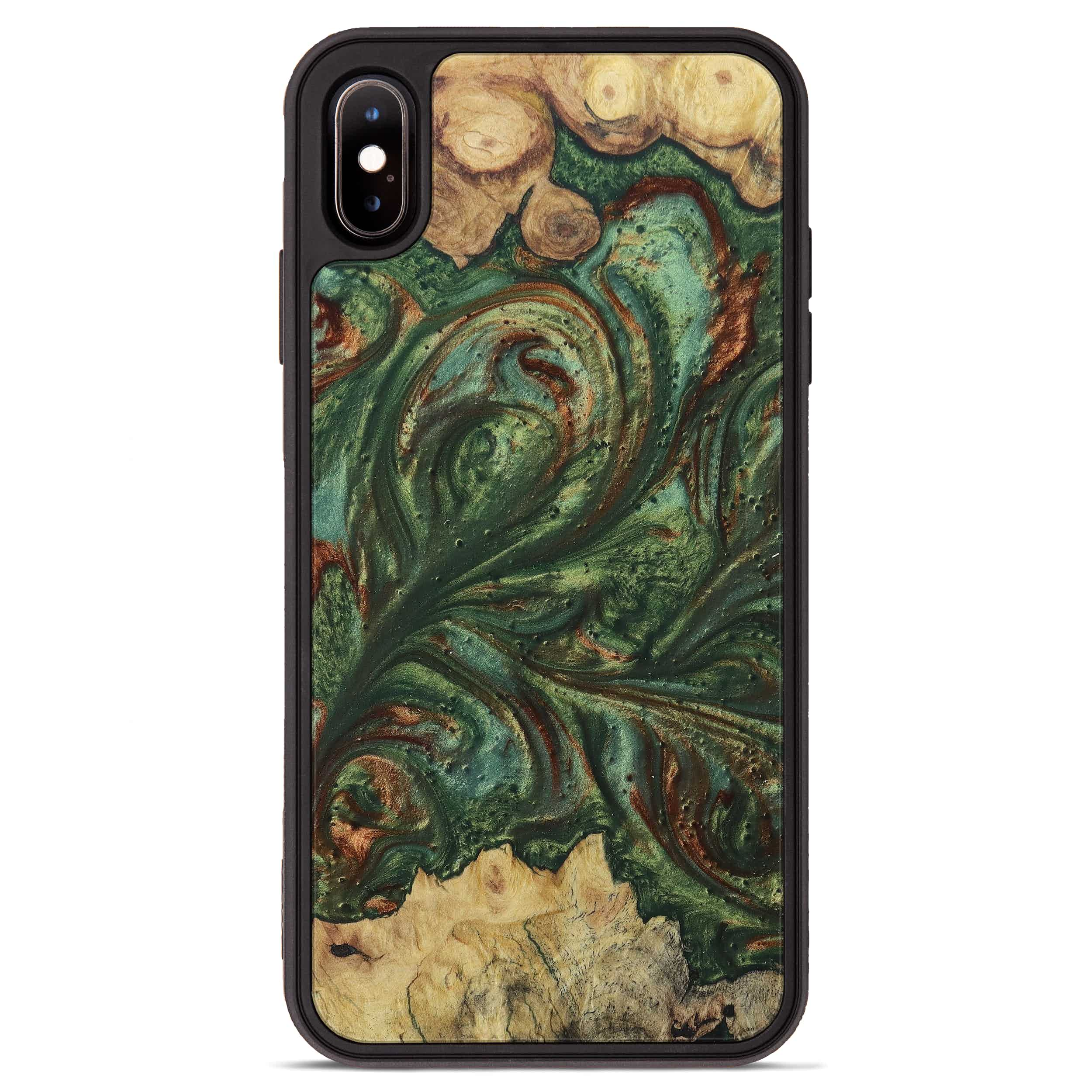 iPhone Xs Max Wood+Resin Phone Case - Melek (Dark Green, 395224)