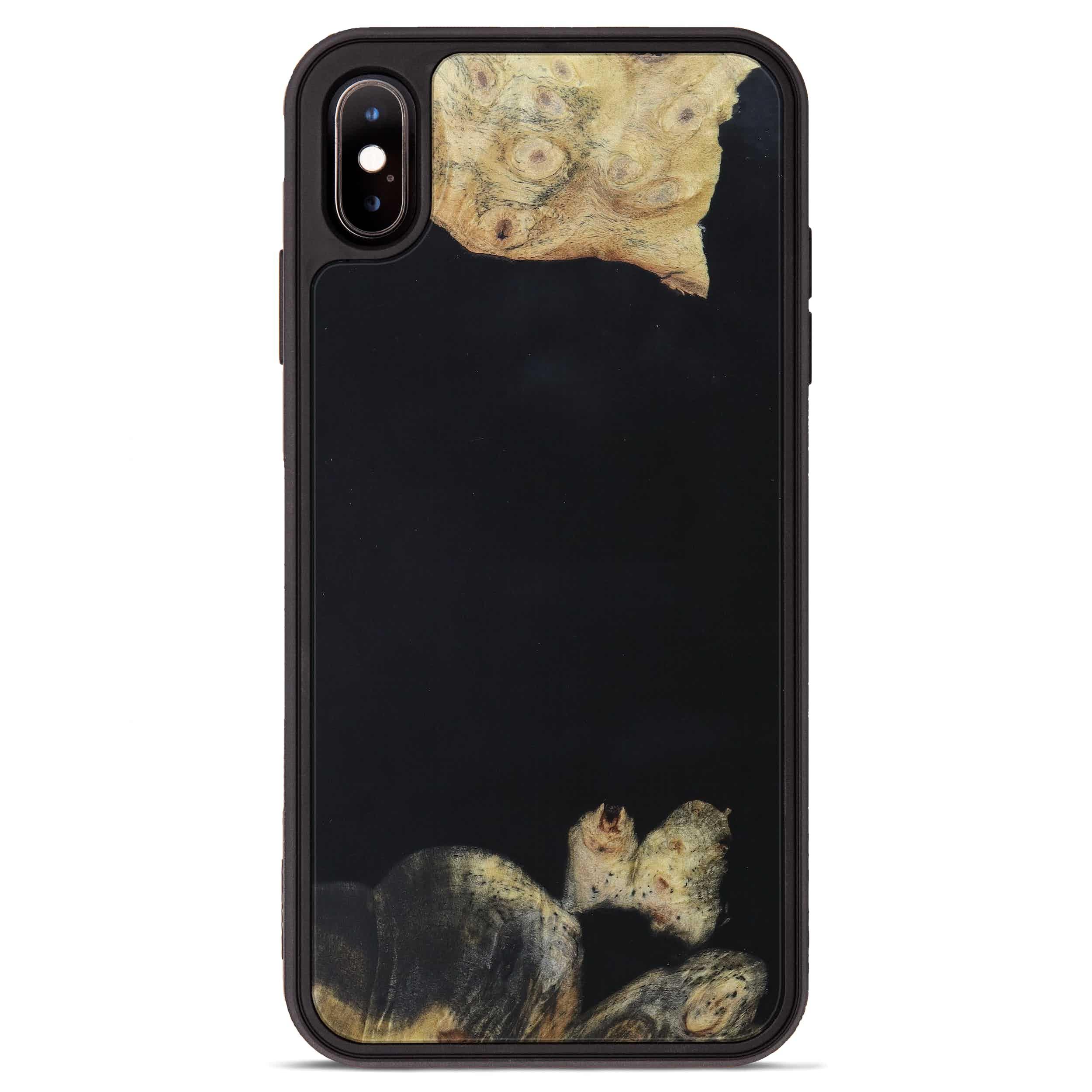 iPhone Xs Max Wood+Resin Phone Case - Petronia (Pure Black, 395890)